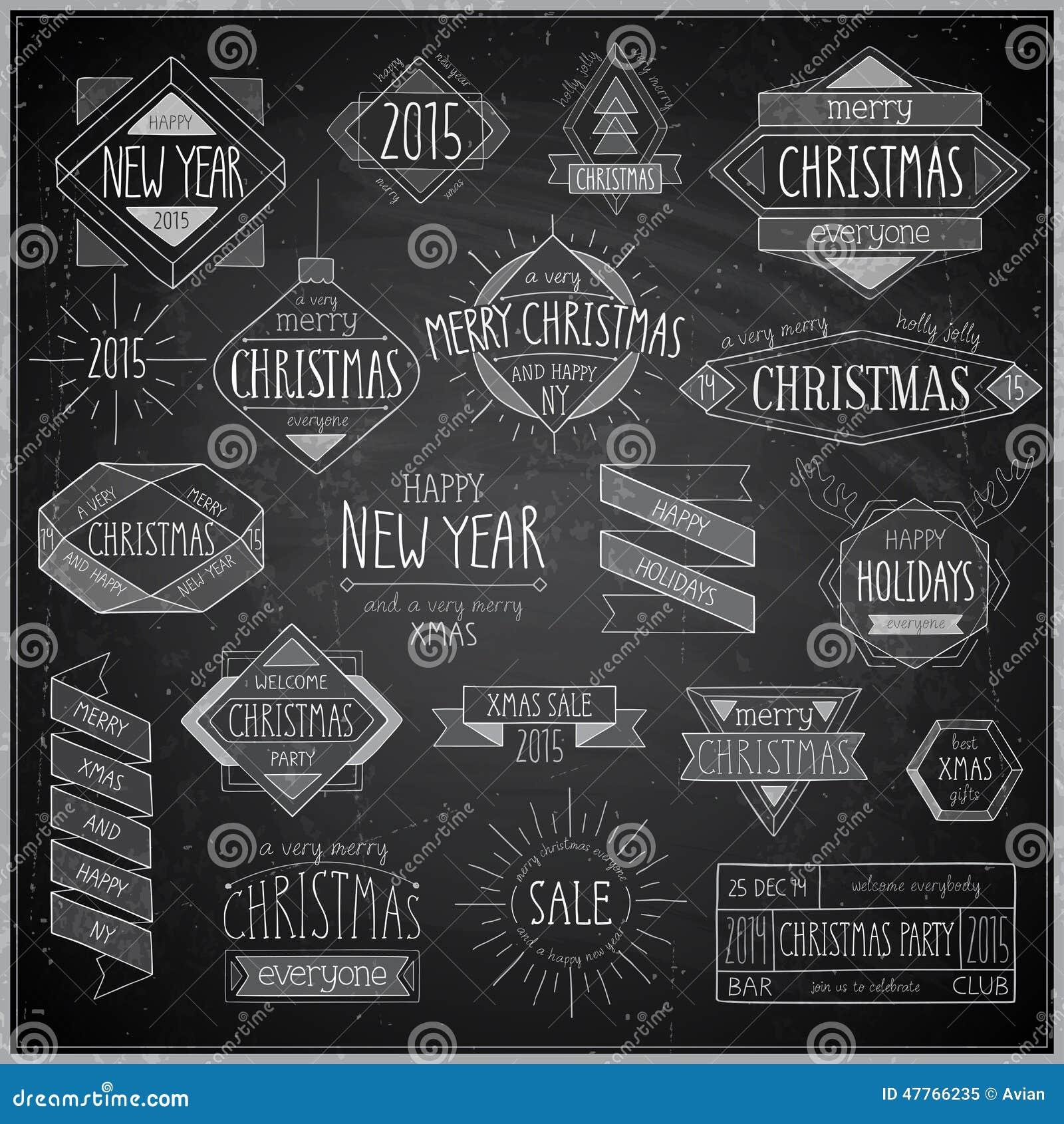 Geplaatste Kerstmishand getrokken emblemen - Bord