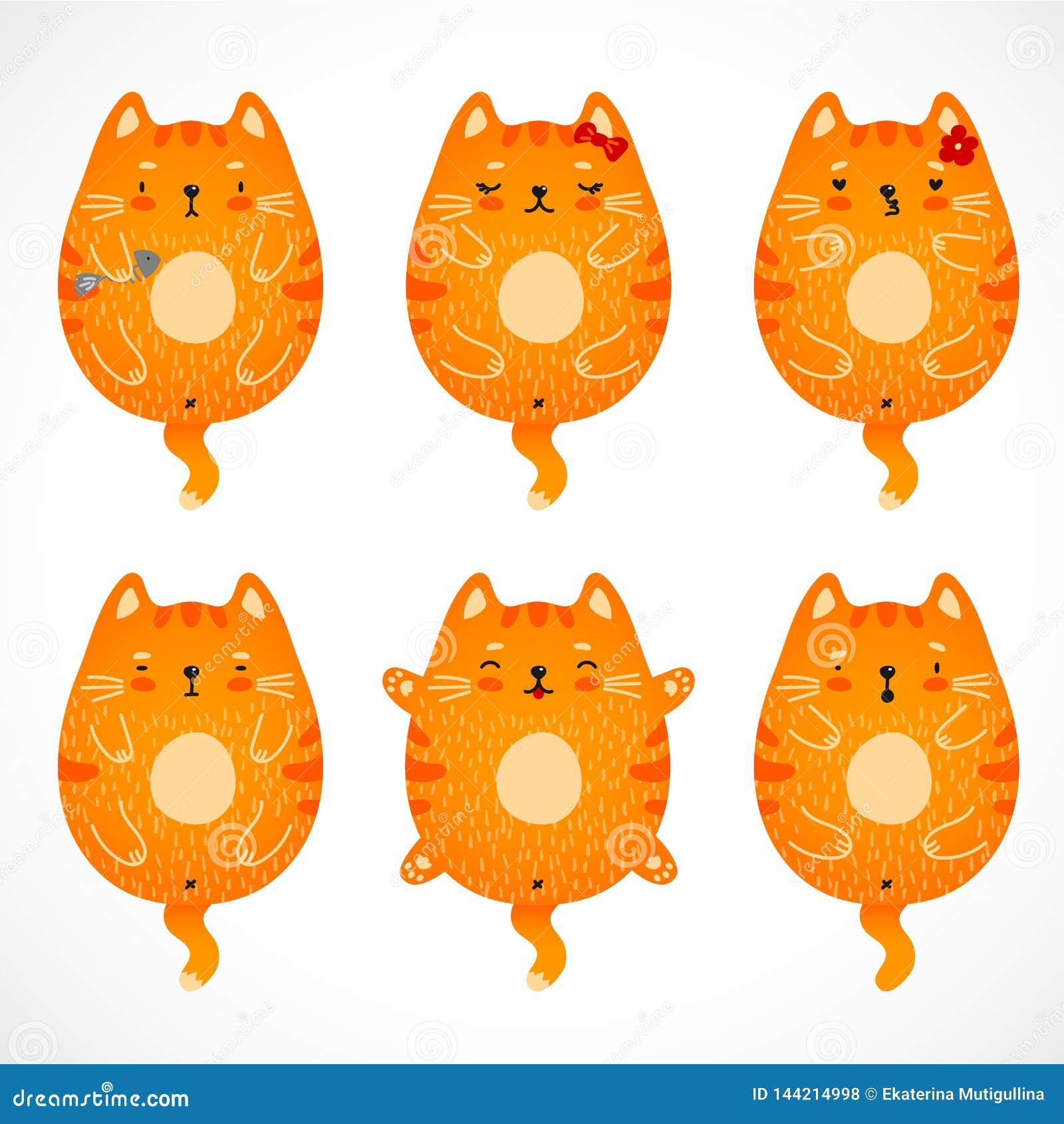 Geplaatste krabbel rode katten