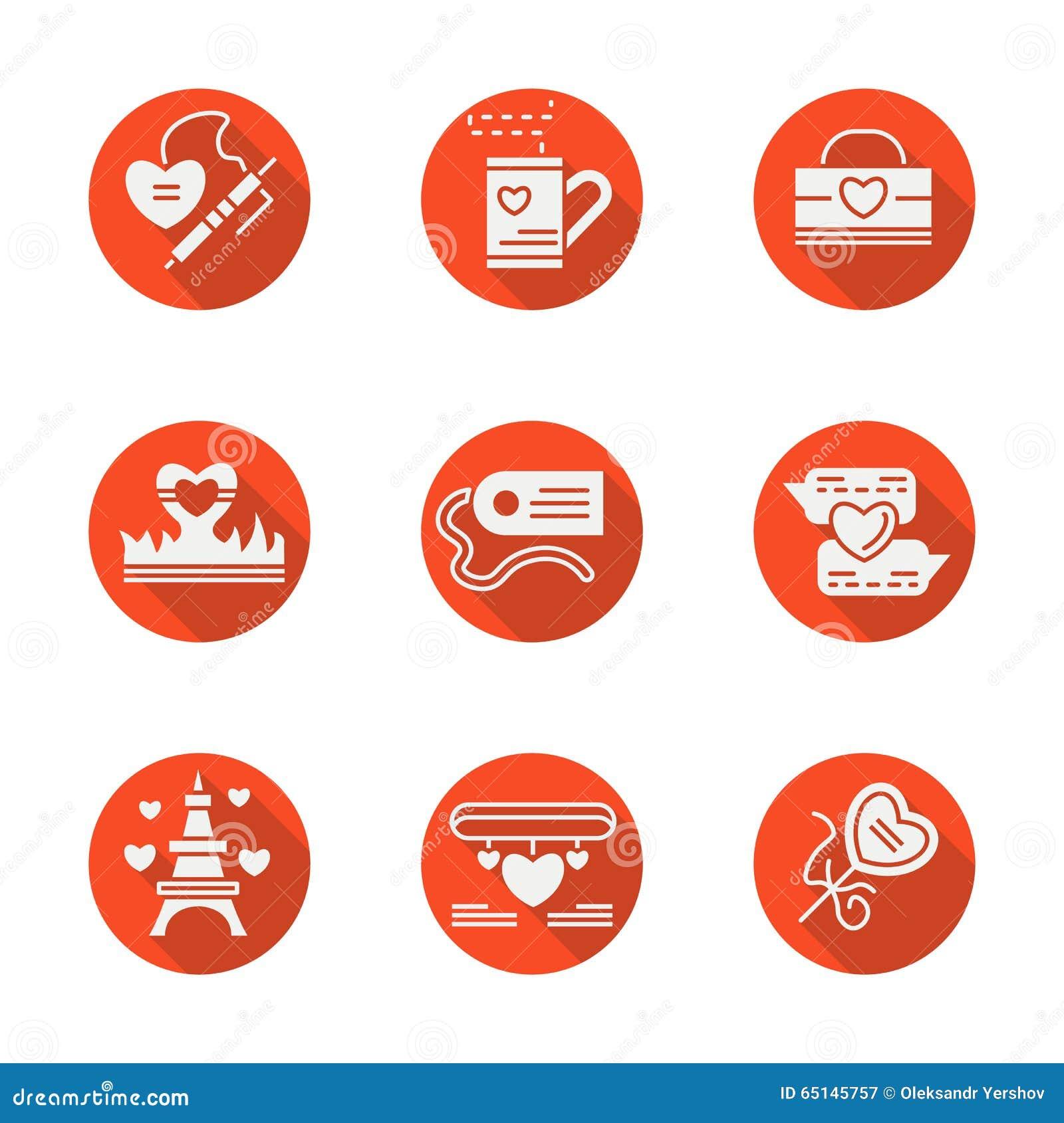 Geplaatste liefde rode ronde vlakke pictogrammen