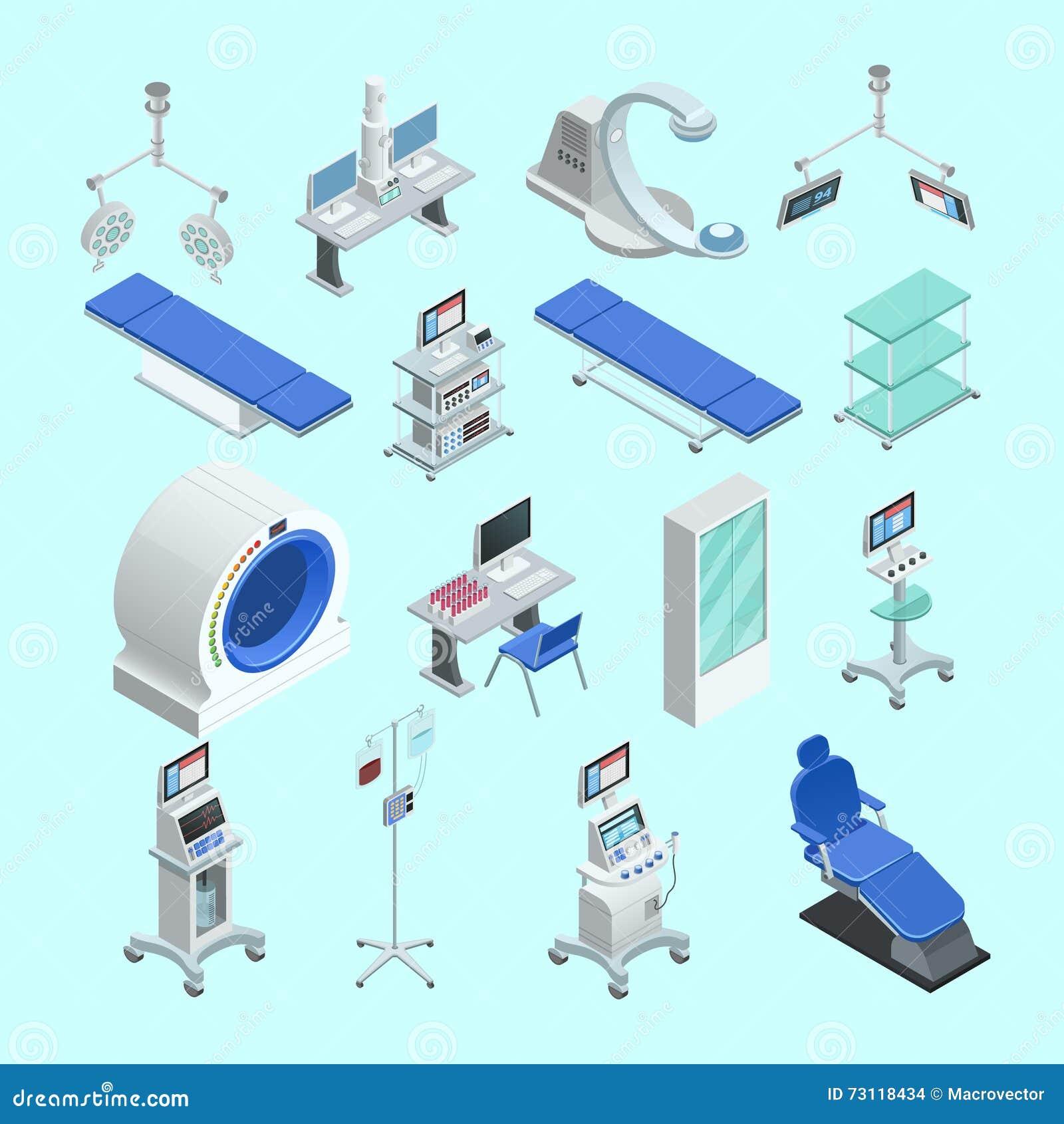 Geplaatste medische apparatuur Isometrische Pictogrammen