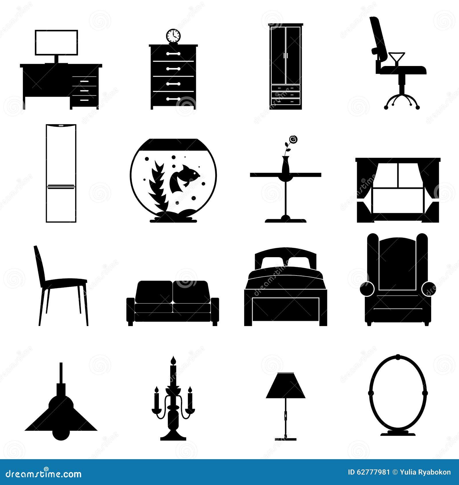 Geplaatste meubilair zwarte pictogrammen vector illustratie afbeelding 62777981 - Meubilair zwarte keuken lak ...