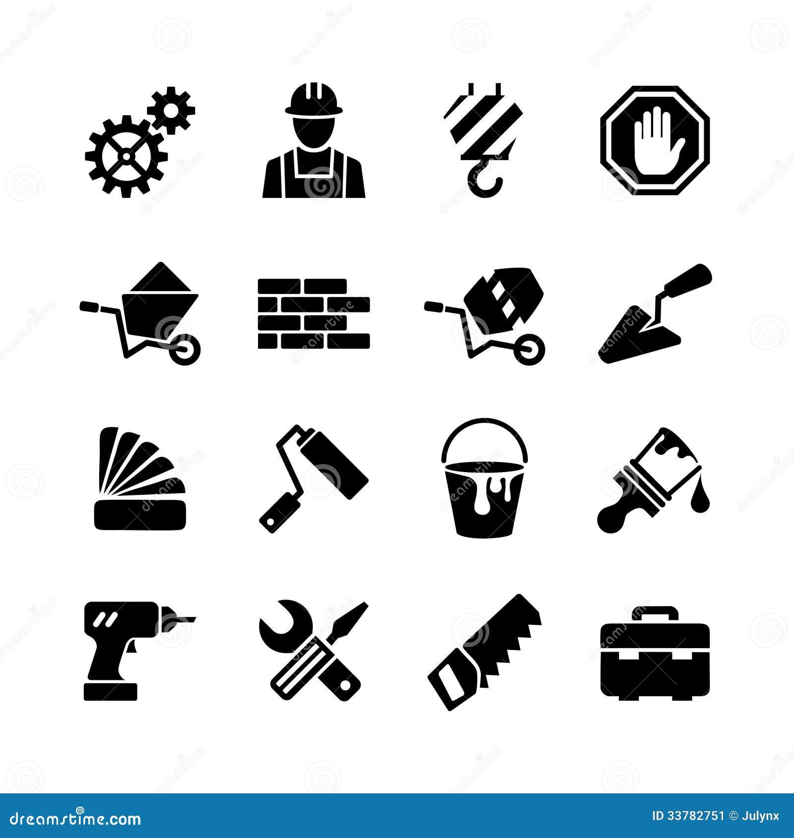 Geplaatste pictogrammen - de bouw, bouw, hulpmiddelen, reparatie