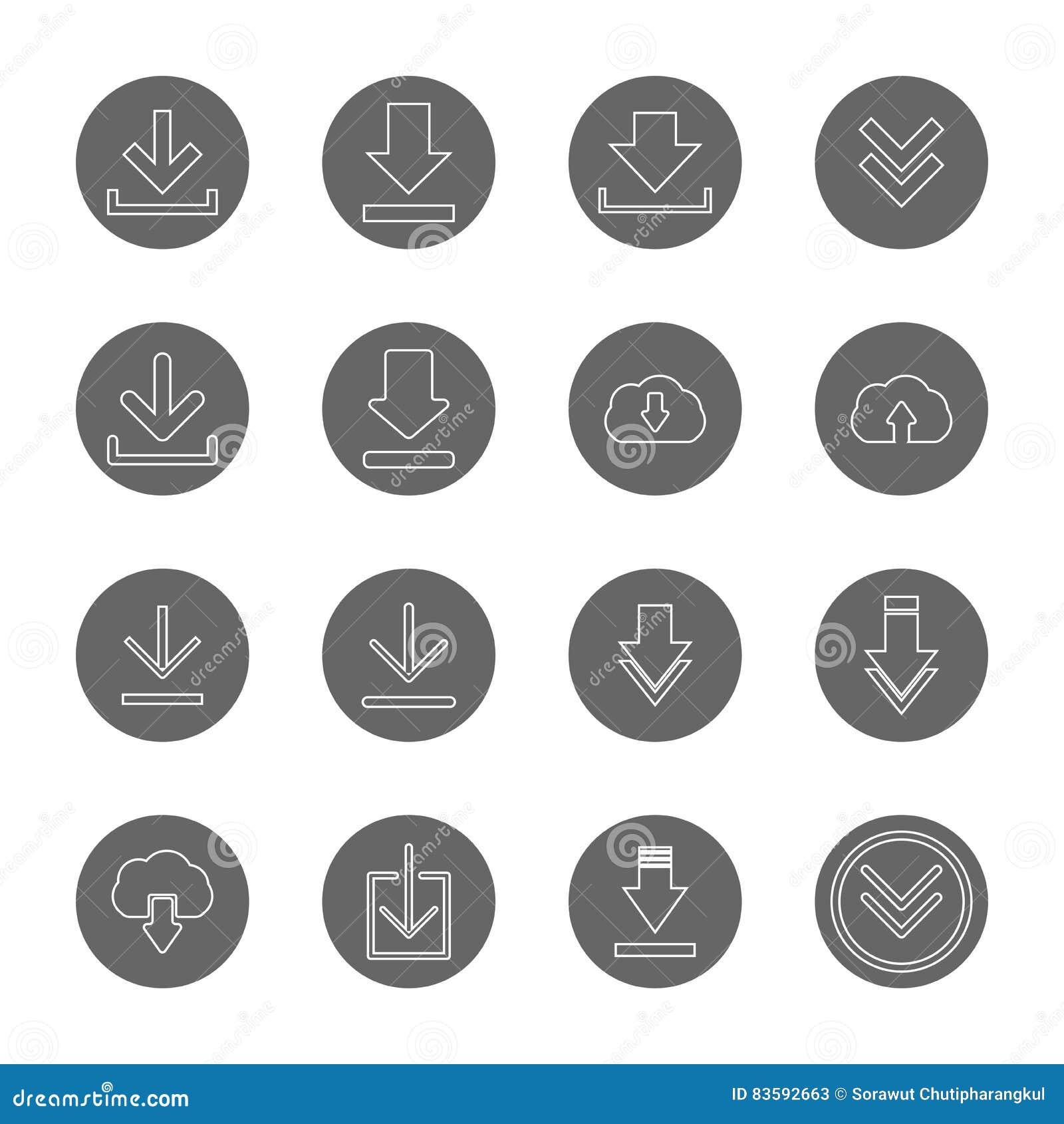 Geplaatste pictogrammen van de download de dunne lijn