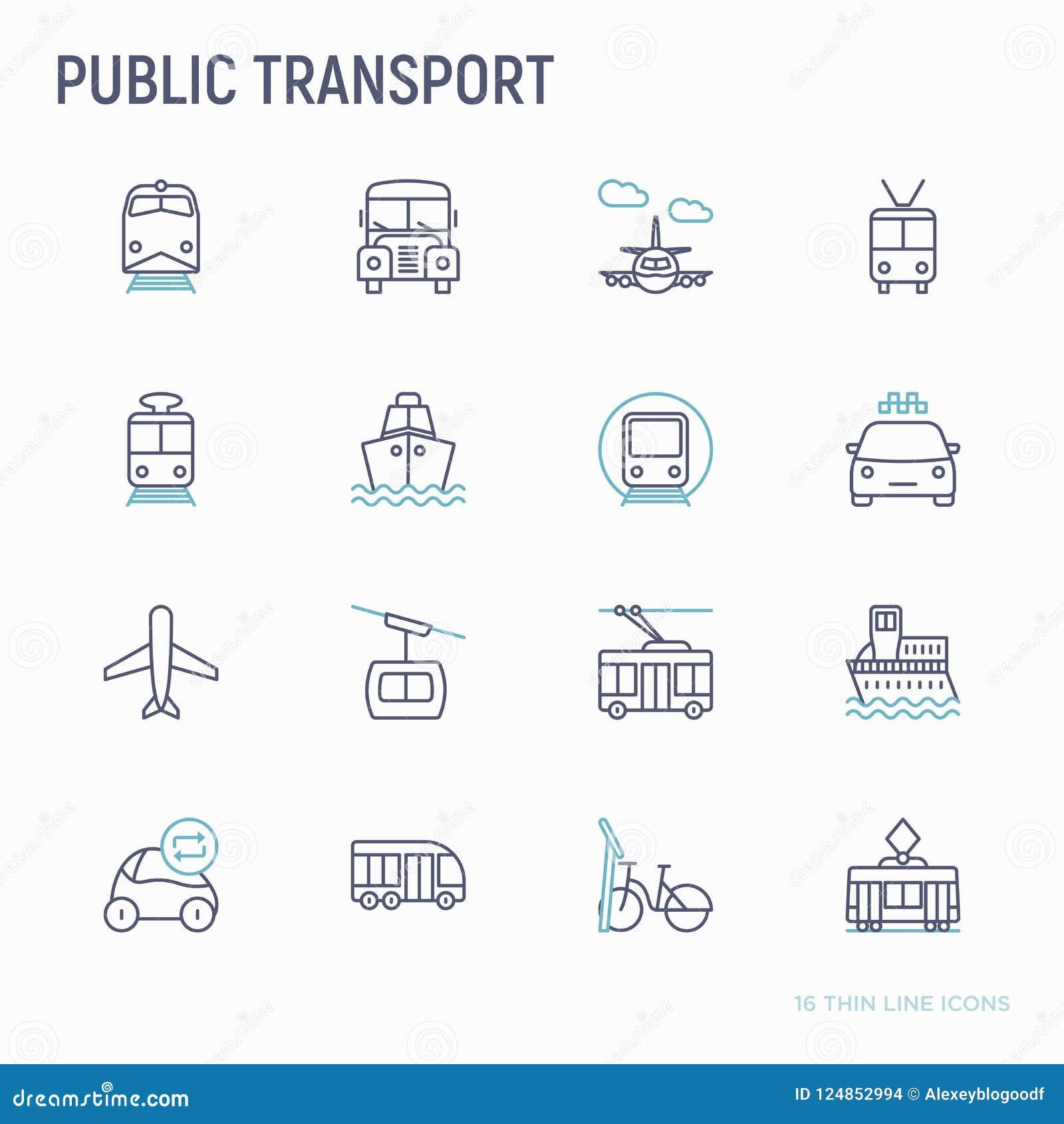 Geplaatste pictogrammen van de openbaar vervoer de dunne lijn
