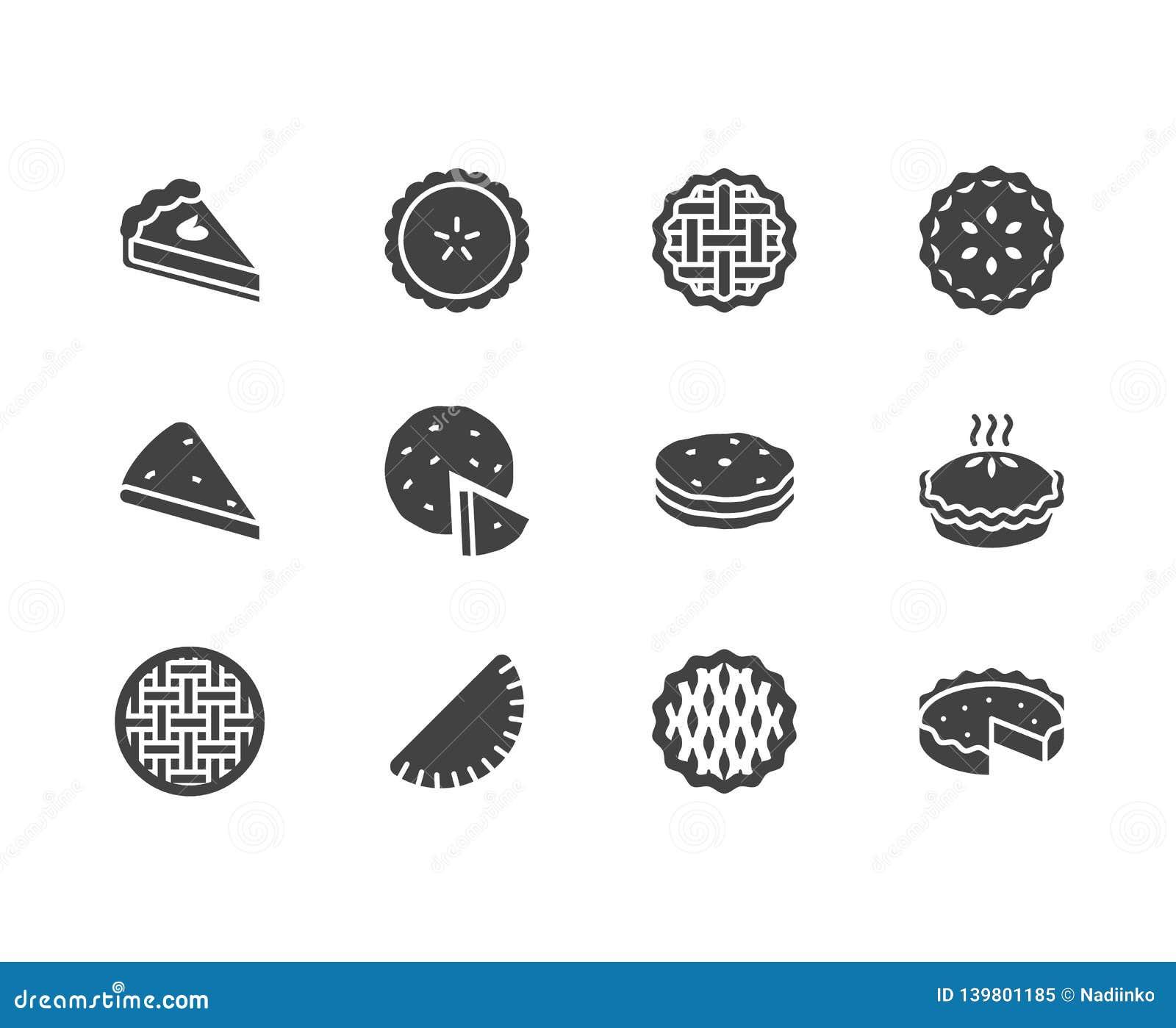 Geplaatste pictogrammen van pastei de vlakke glyph Ossetian, kers, appel, pompoenpastei, braadpan, pitabroodje vectorillustraties