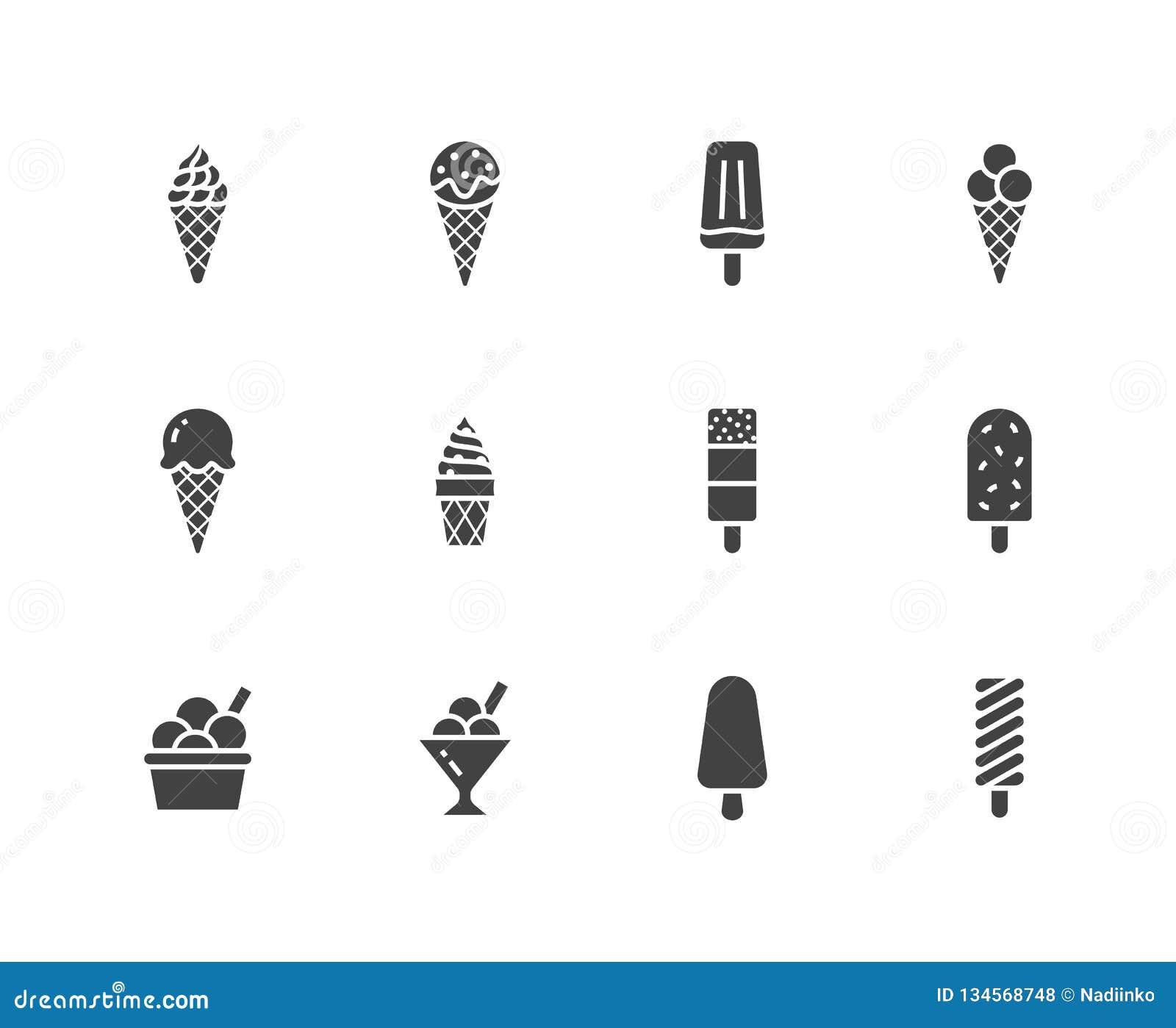 Geplaatste pictogrammen van roomijs de vlakke glyph Wafelkegel, ijslollie, bevroren sap, ijslolly, sorbet in kom vectorillustrati