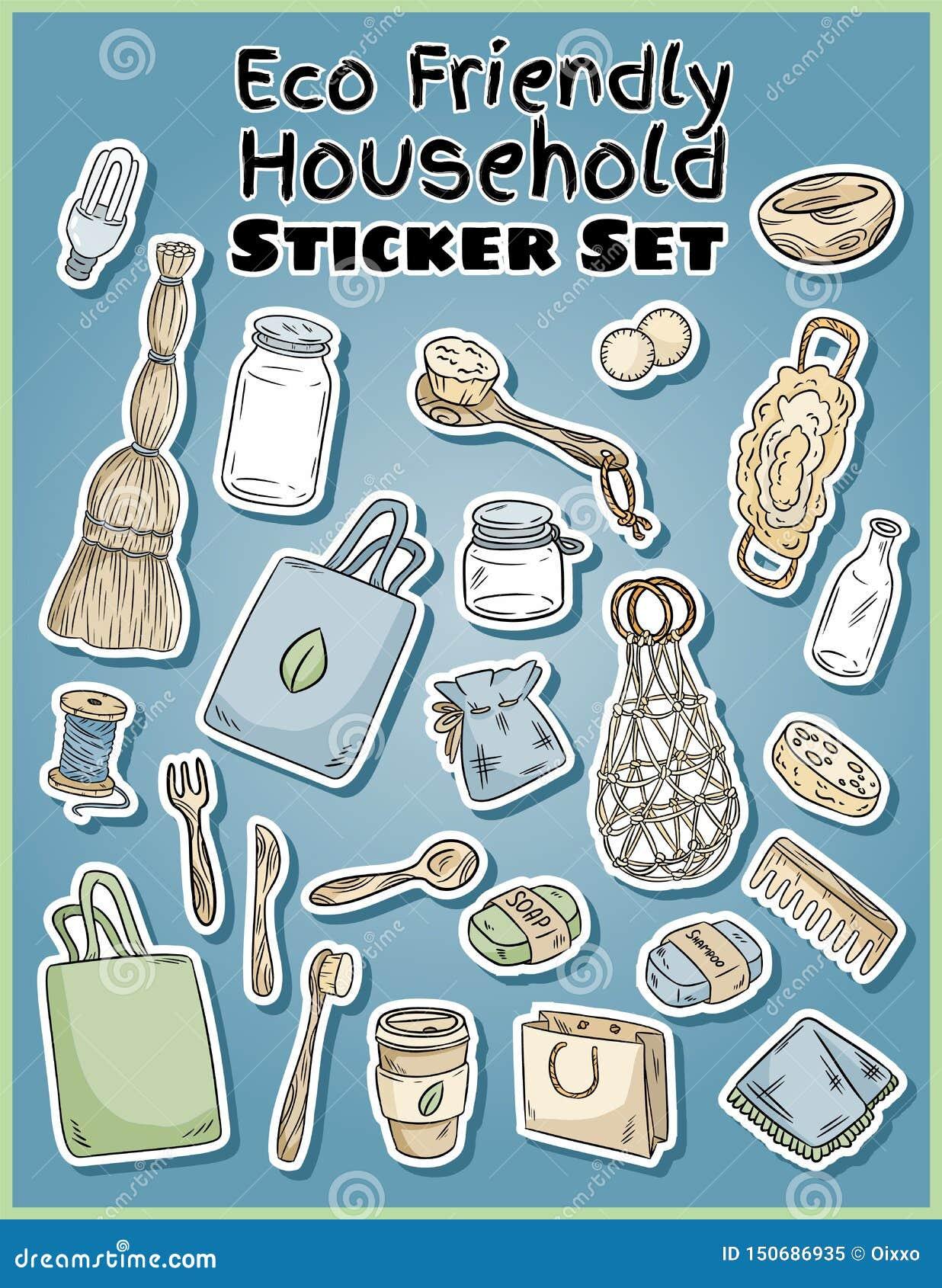Geplaatste stickers van het Eco de vriendschappelijke huishouden Ecologische en nul-afval inzameling van etiketten Ga het groene