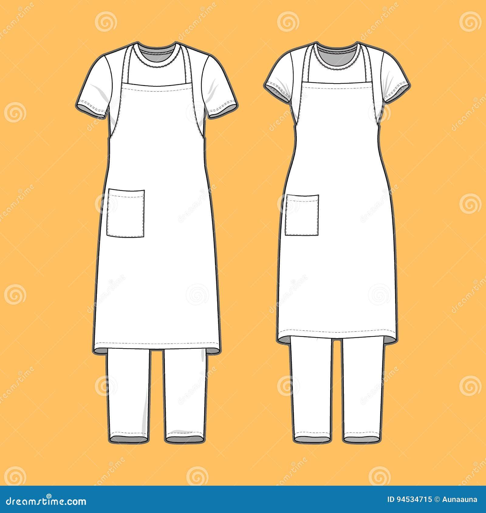 Geplaatste t-shirt, schort en broek