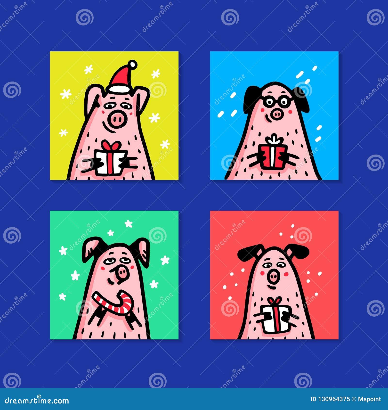 Geplaatste varkenskaarten Grappige varkens met suikergoedriet, giften en santahoeden 2019 Chinees nieuw jaarsymbool De karakters