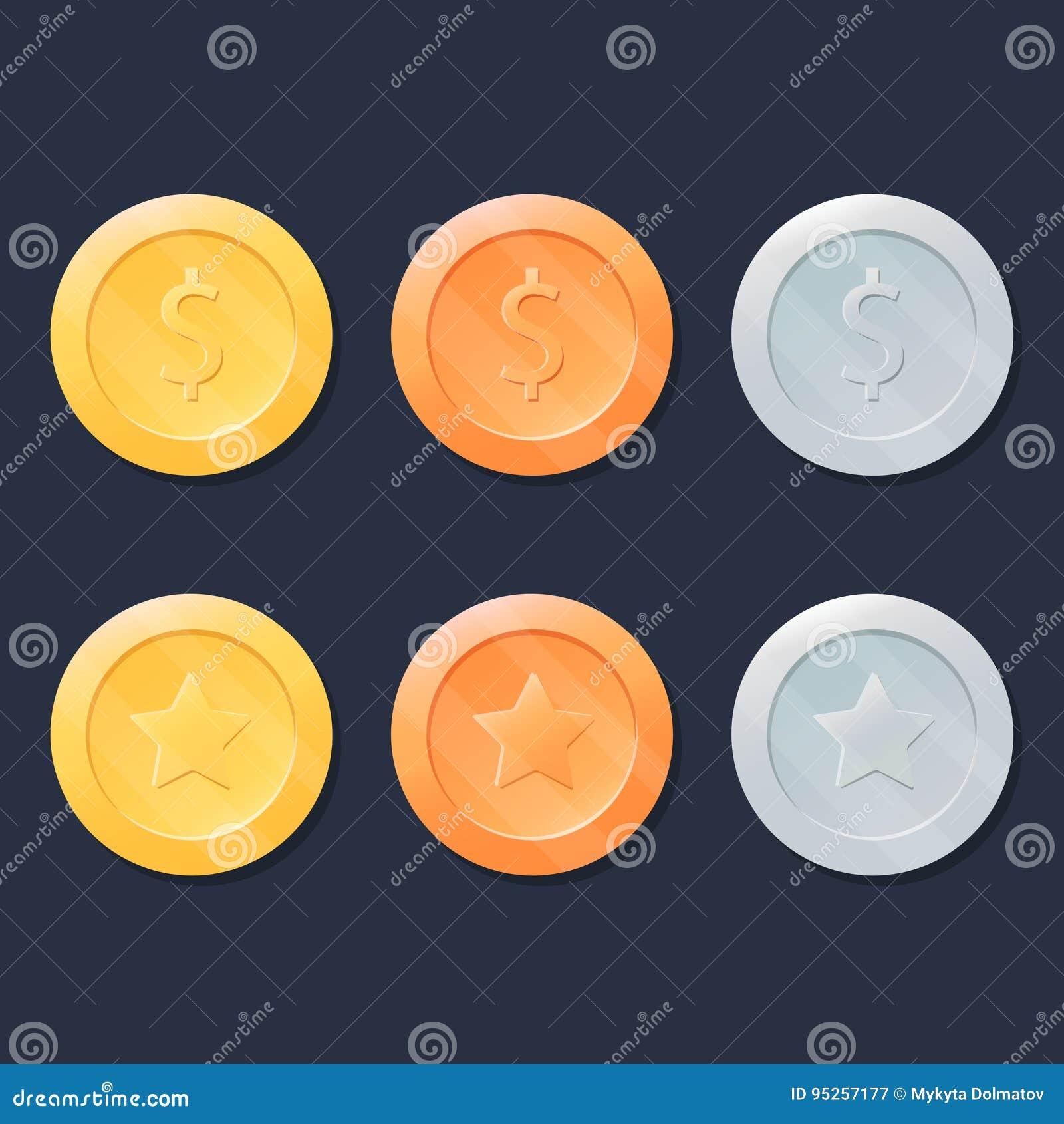 Geplaatste videospelletjemuntstukken of medailles Goud, Zilver en Brons Het grafische element van het gebruikersinterfaceontwerp