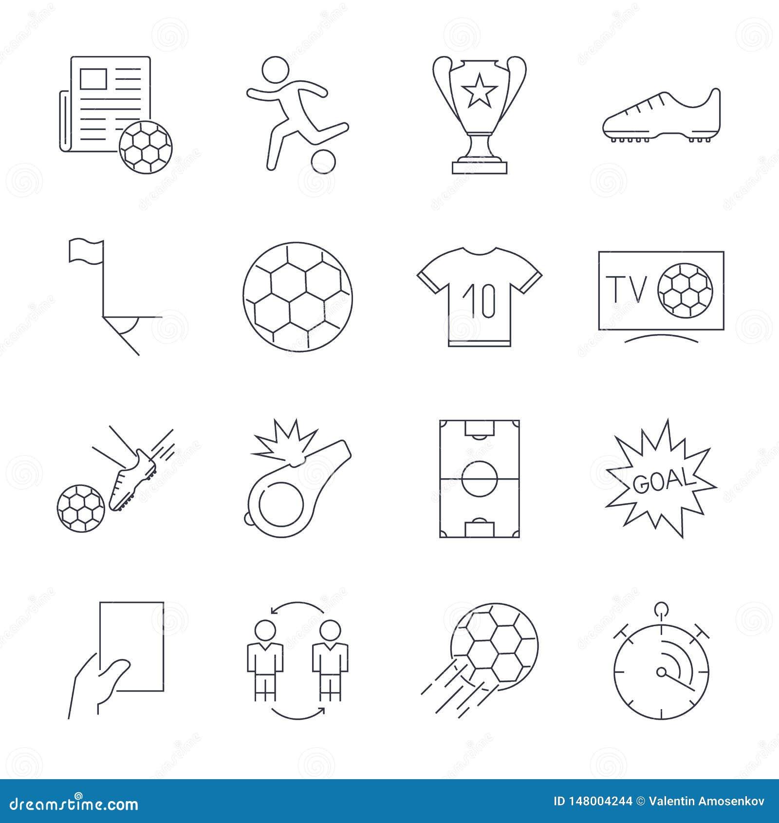 Geplaatste voetbalpictogrammen Editableslag