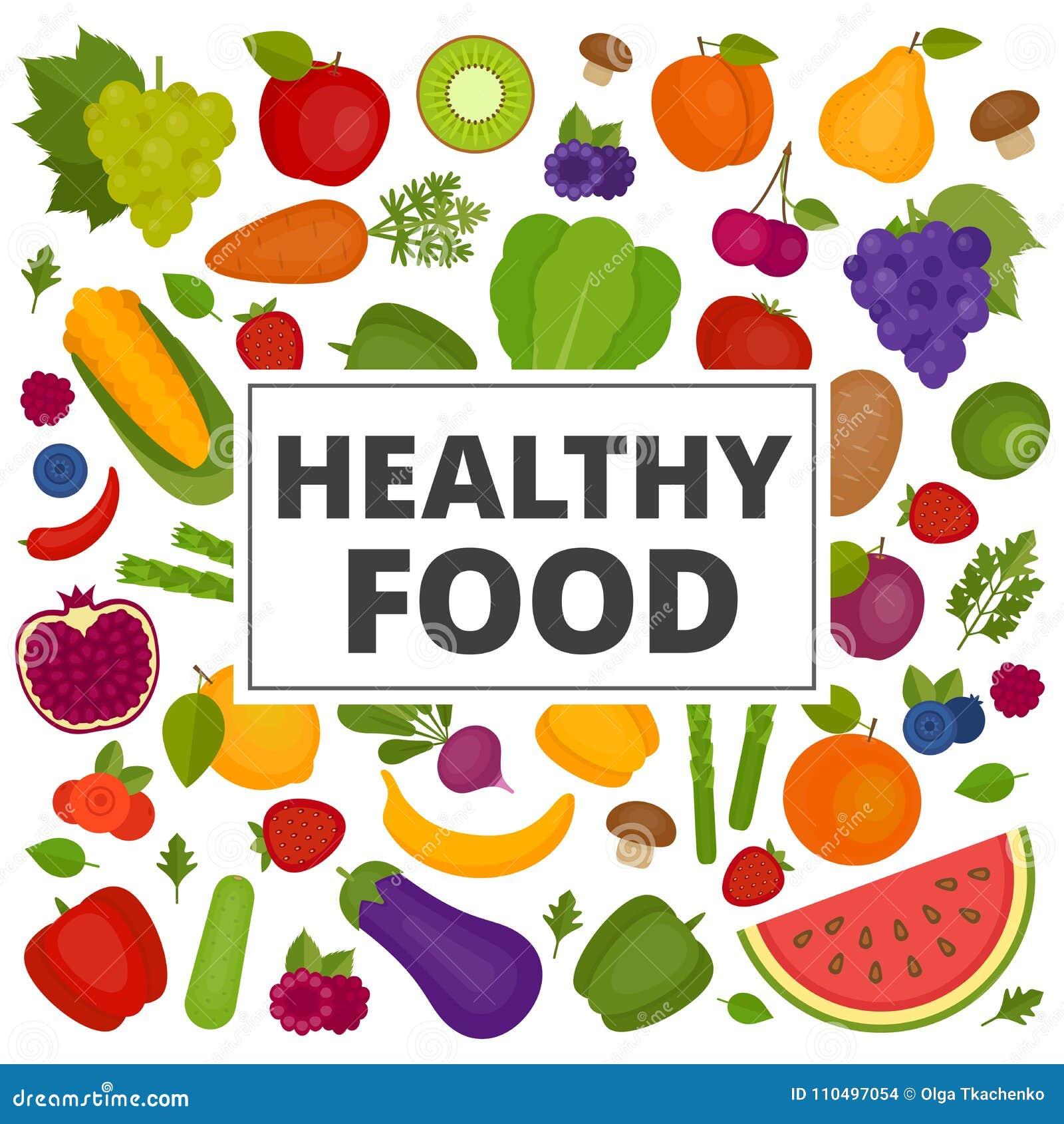 Geplaatste vruchten en groenten Organisch en Gezond voedsel Vlakke stijl,