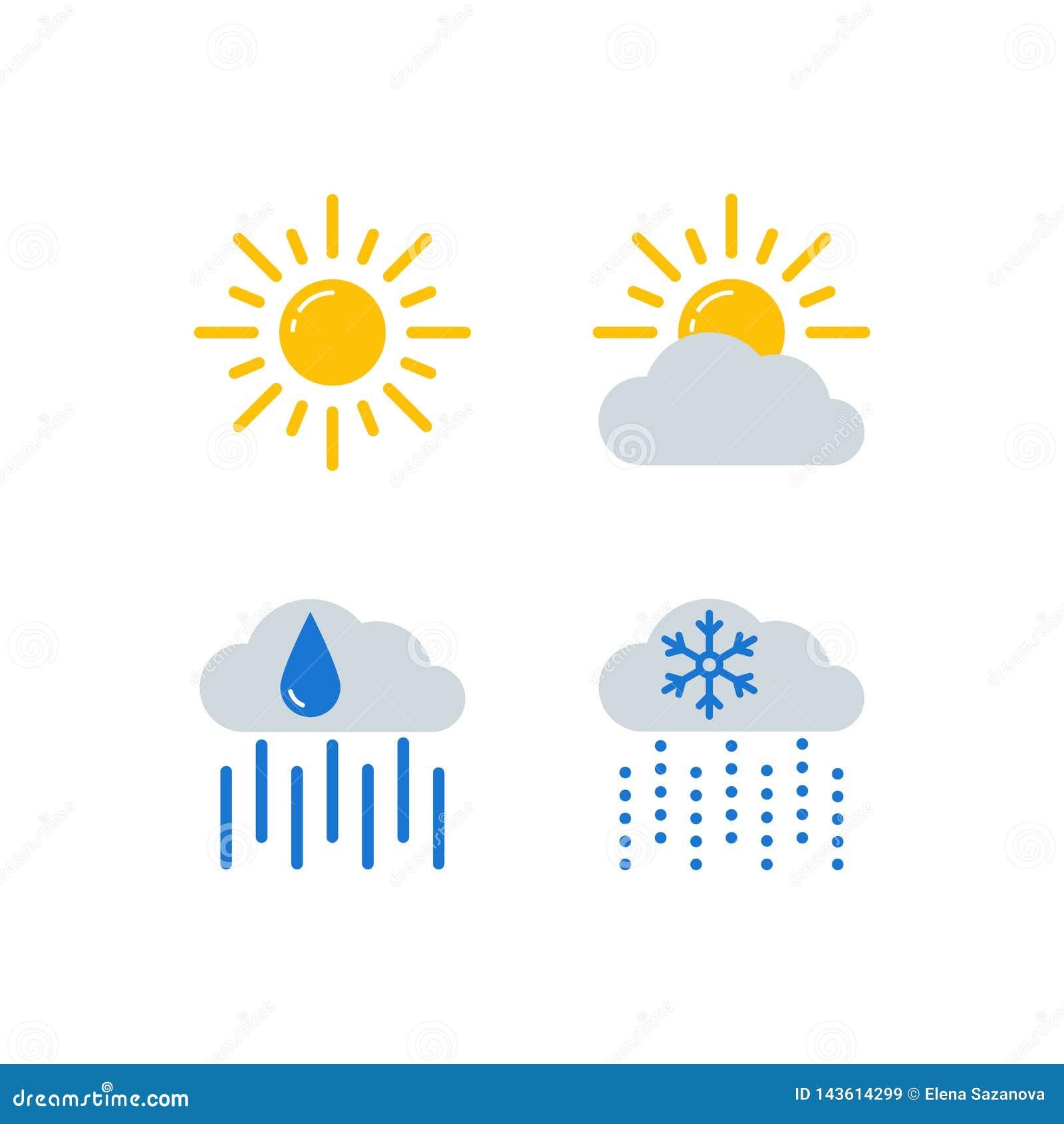 Geplaatste weervoorspellings vectorpictogrammen