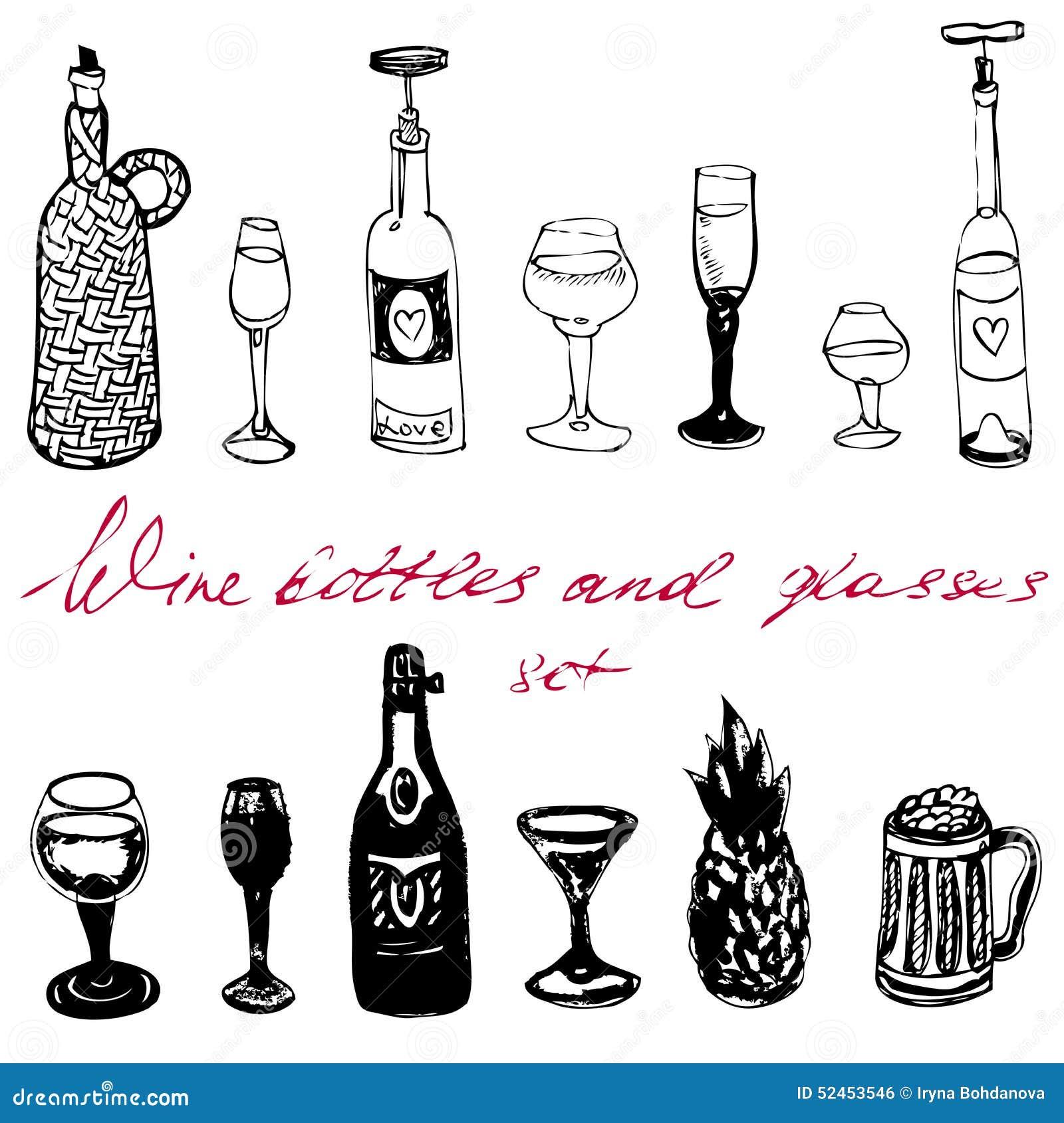 Geplaatste wijnflessen en glazen