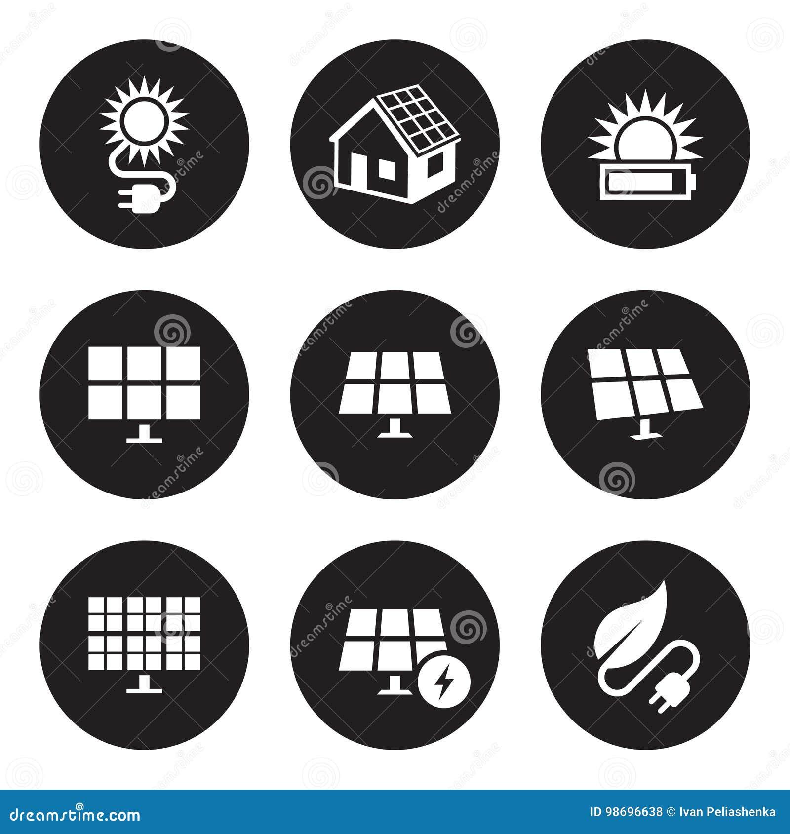 Geplaatste zonne-energiepictogrammen