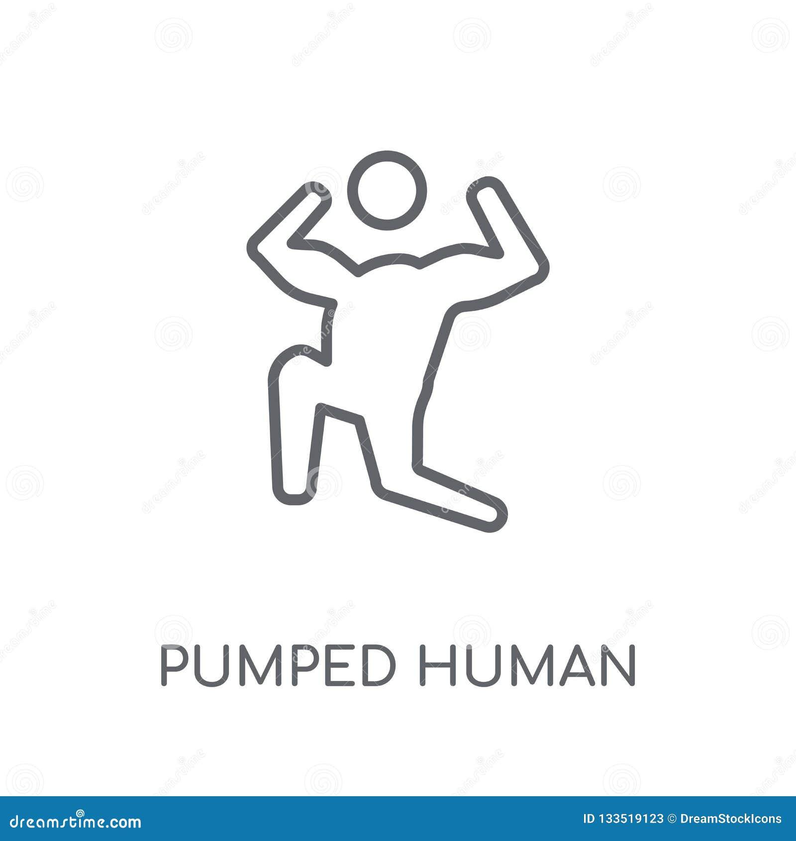 Gepompt menselijk lineair pictogram Het moderne overzicht pompte menselijke embleemconce