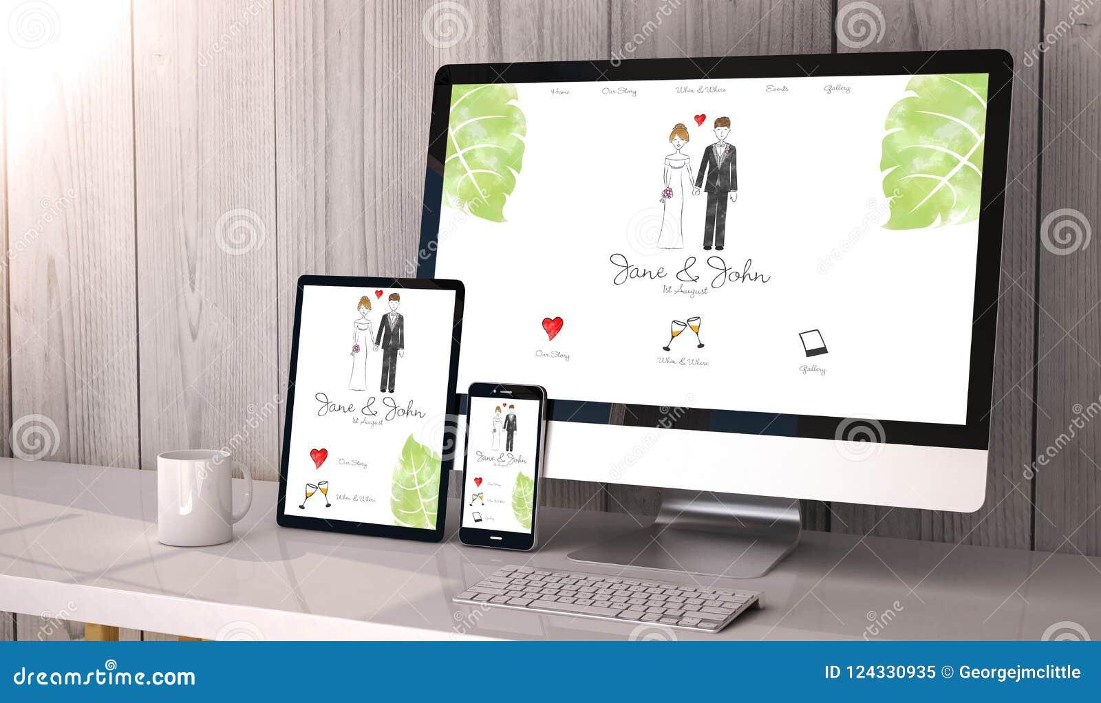 Geräte entgegenkommend auf Arbeitsplatzhochzeits-Websitedesign
