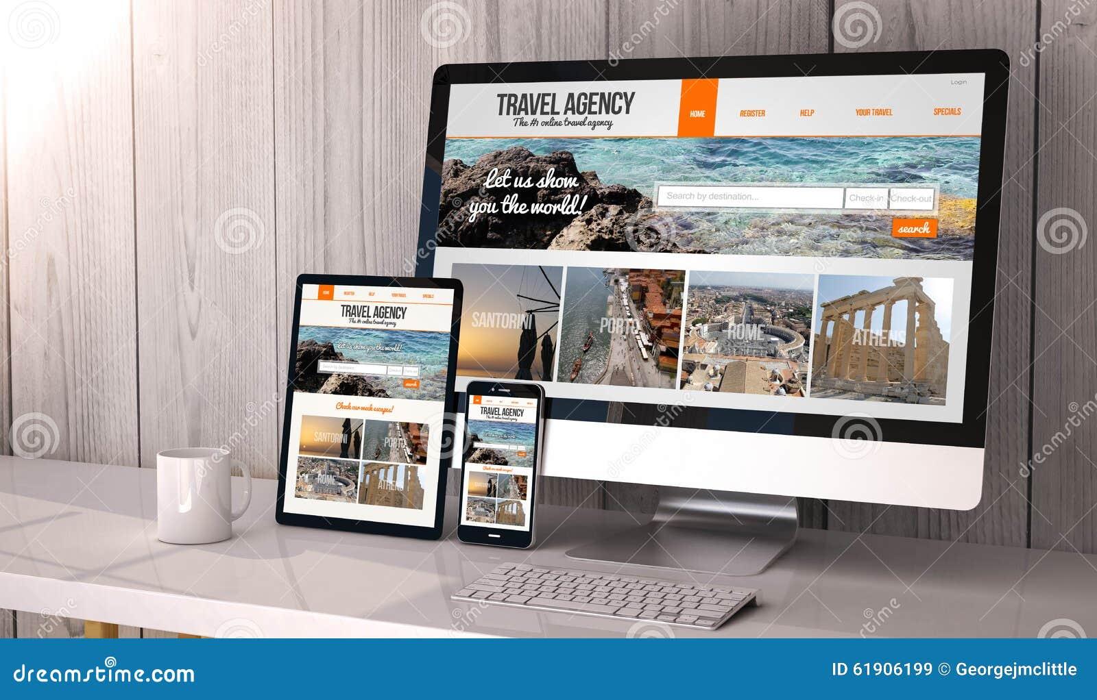 Geräte entgegenkommend auf ArbeitsplatzReisebüro online