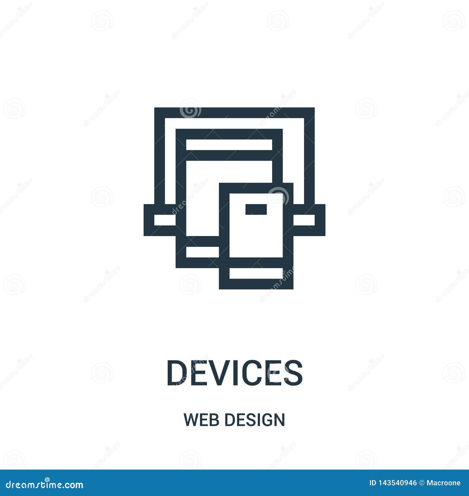 Gerätikonenvektor von der Webdesignsammlung Dünne Linie Gerätentwurfsikonen-Vektorillustration