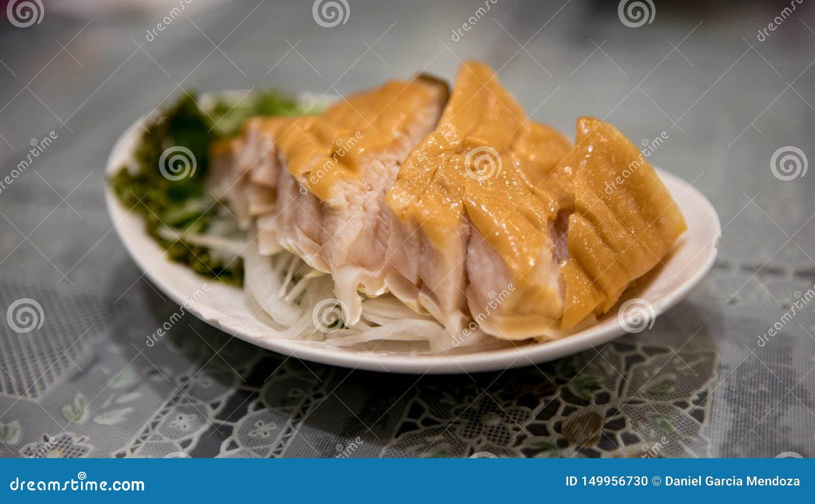 Geräuchertes Haifischsteak des Tellers Gekocht im chinesischen Restaurant bei Taiwan