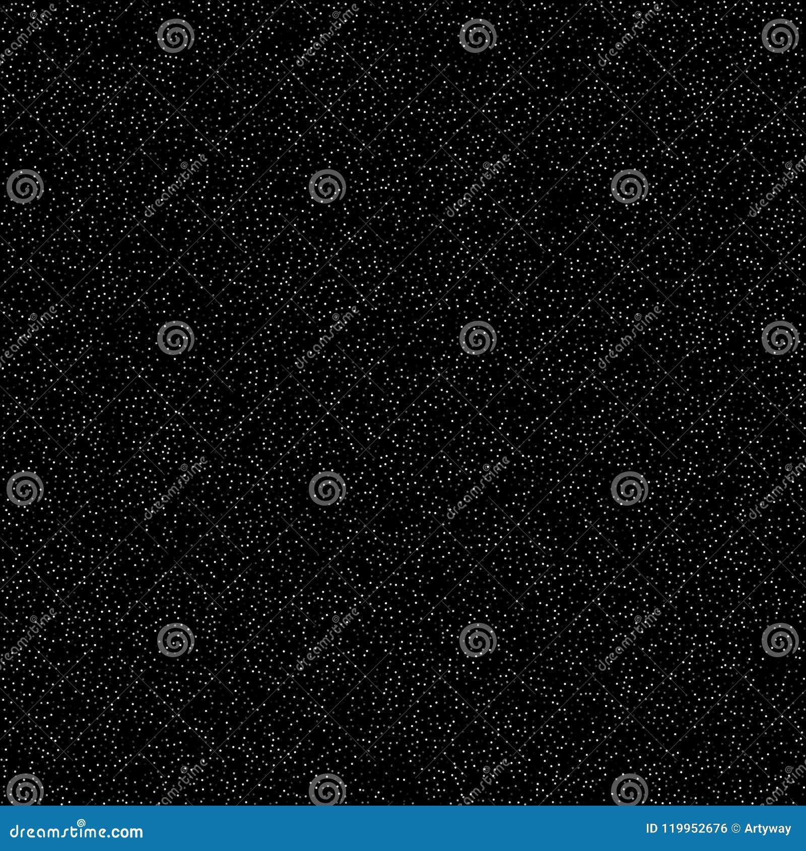 Geräuschmuster, digitaler Effekt Himmel mit Sternen, einfaches flaches Design Viele Weißpunkte auf schwarzem Hintergrund, Vektor