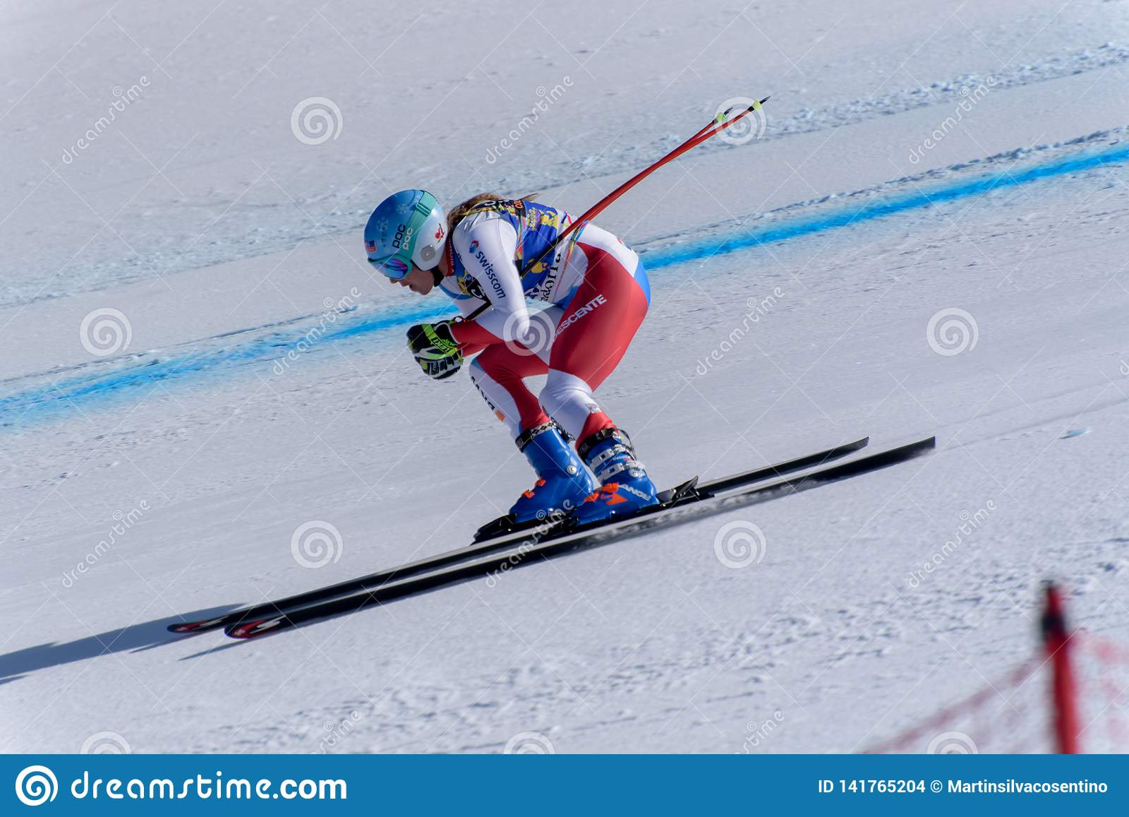 GER Michaela Wenig participa en las señoras cuesta abajo corre para la raza de Ladie Downhill de la mujer del FIS Ski World Cup F