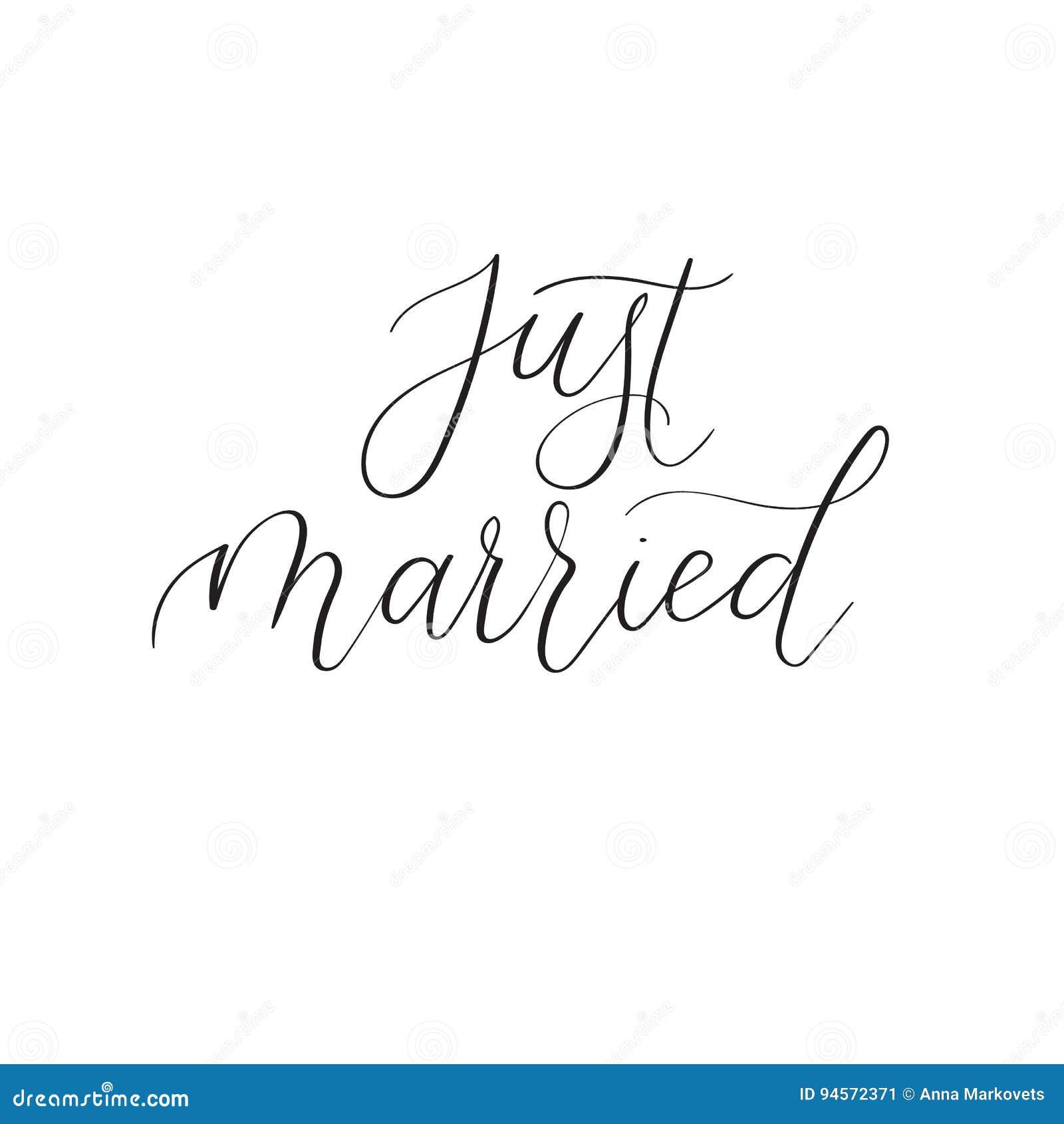 Gerade Verheiratete Kalligraphie Fur Hochzeitskarten Und Einladung