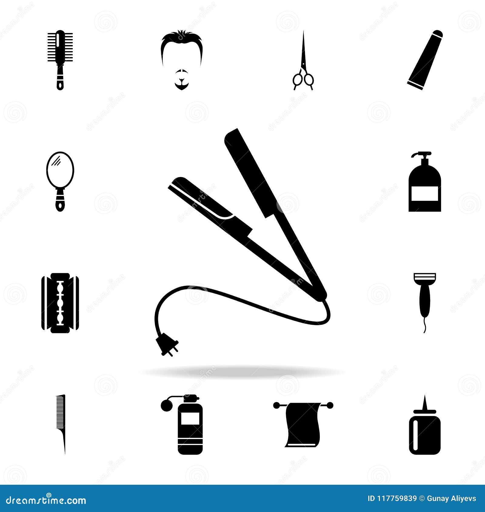 Geraderichten der Zangenikone Ausführlicher Satz Friseurwerkzeuge Erstklassiges Grafikdesign Eine der Sammlungsikonen für Website