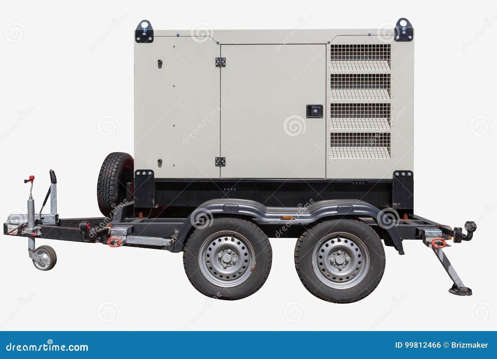Gerador de poder diesel industrial no fundo branco