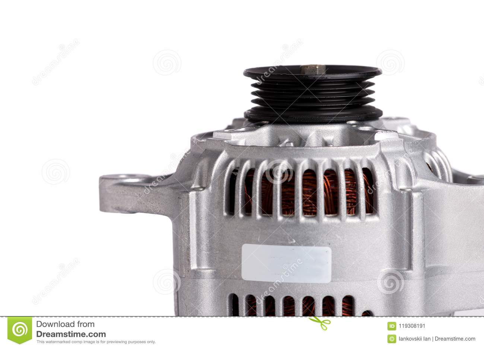 Gerador de poder novo do carro, isolado no fundo branco Detalhes do motor do carro