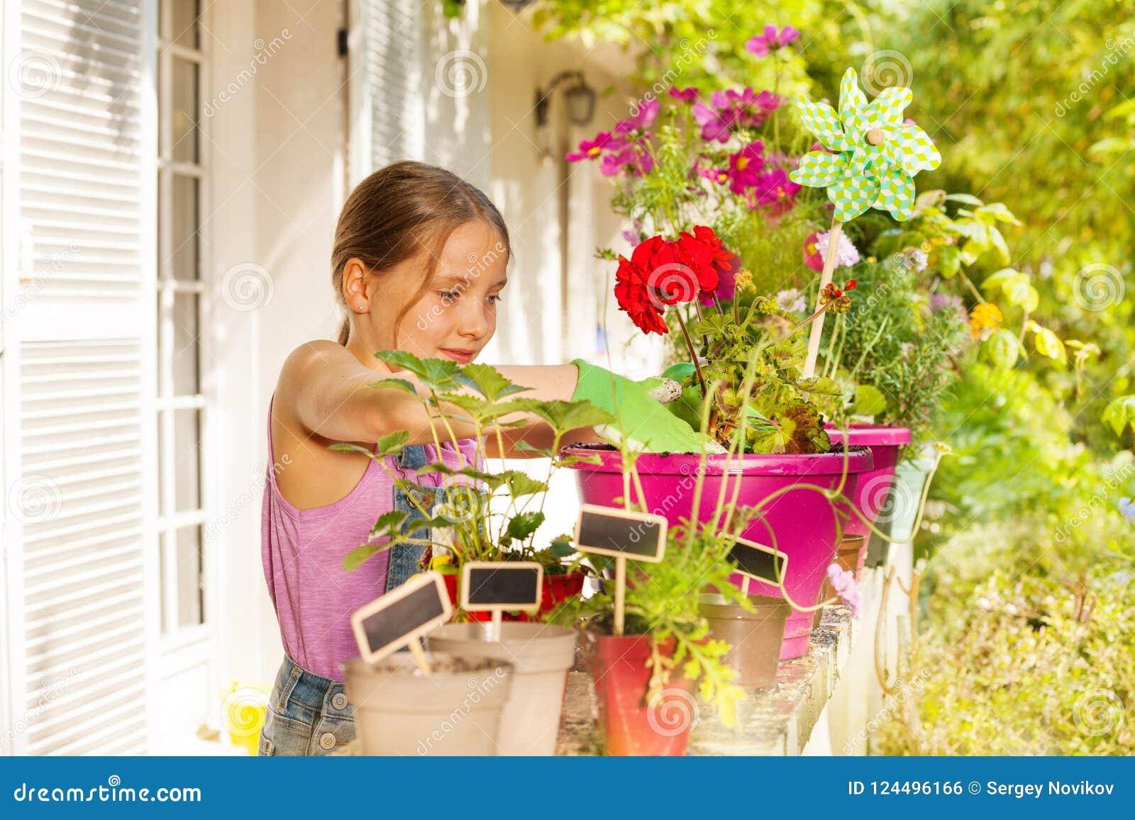 Geranio rubio hermoso del rellenado de la muchacha en terraza