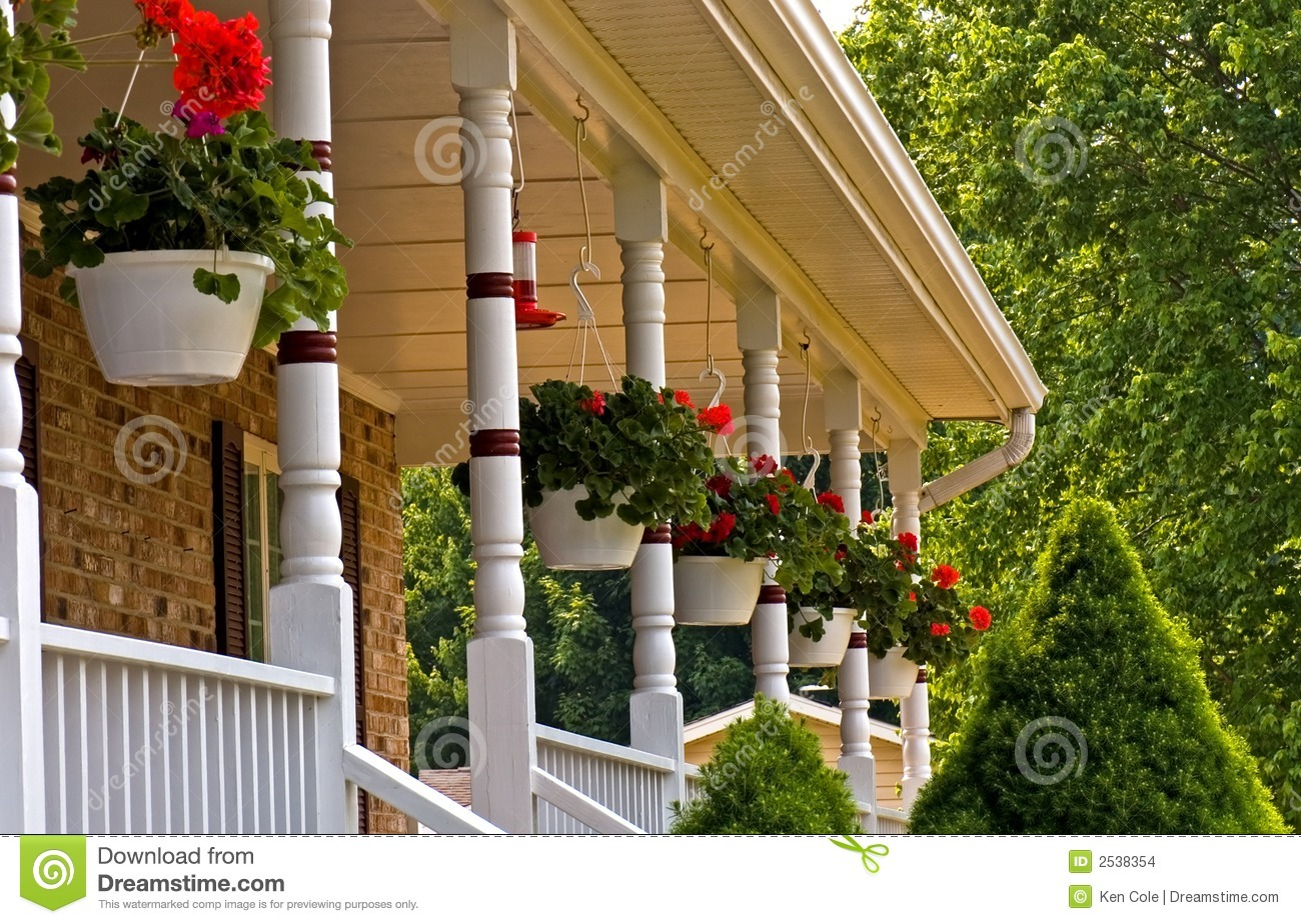 Geranium Pots Hanging On Porch Stock Photo Image Of
