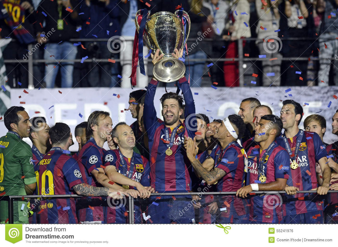 Download Gerard Pique Lifts The UEFA Champions League Trophy Editorial Photo