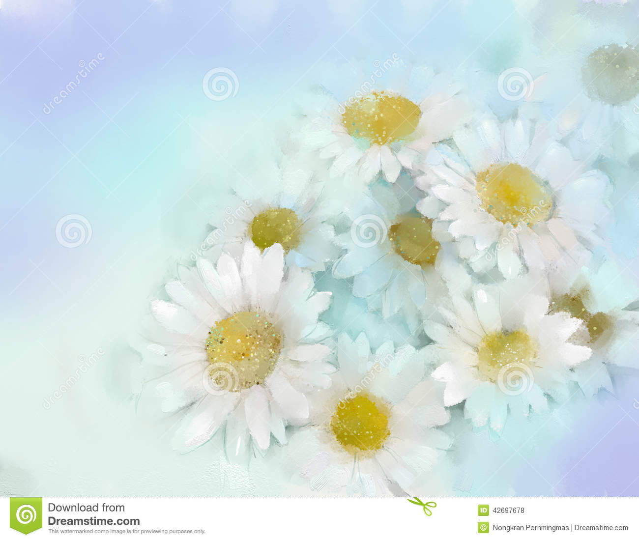 Oil Painting White Gerbera Flower Stock Illustration Image