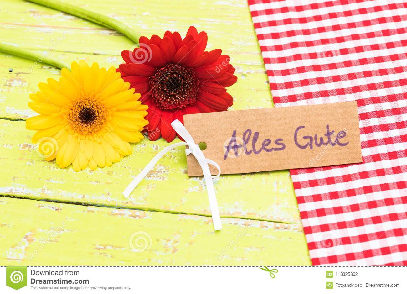 Colorful Blossoms And Card With German Text Alles Gute Means All