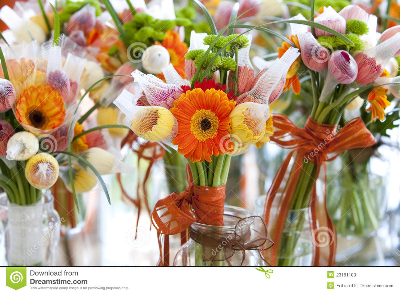 Gerbera And Variation Of Flowers Bouquet Stock Image Image Of