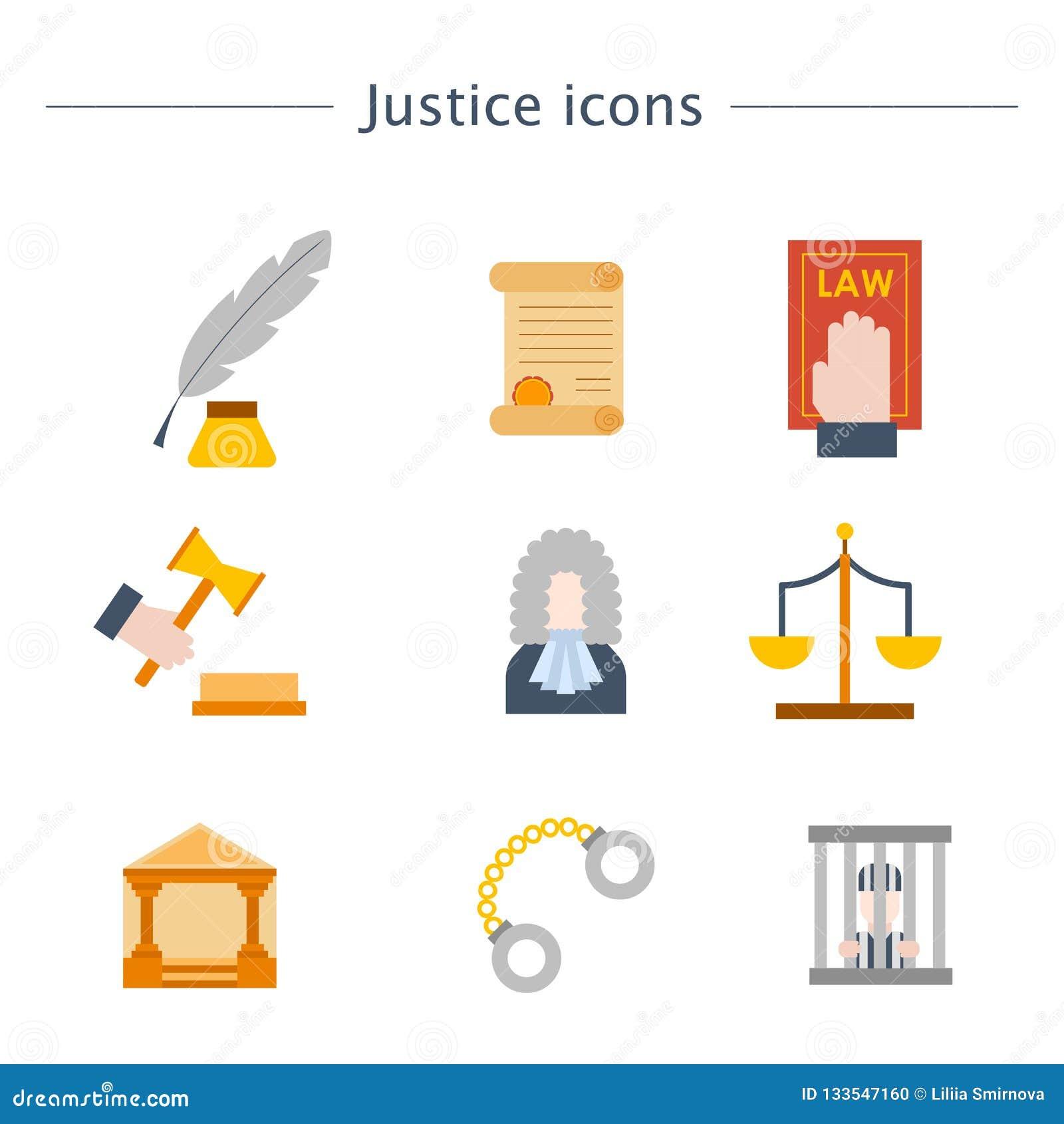 Gerechtigkeits-Ikonenhintergrund der Vektorkarikatur flacher Gesetzes