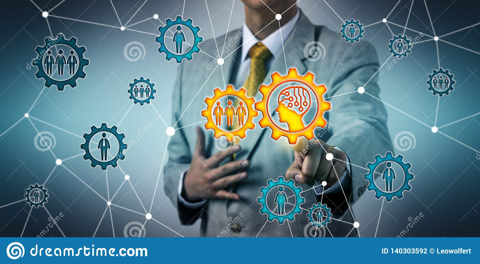 Gerente Connecting With Work Team Via AI na roda denteada