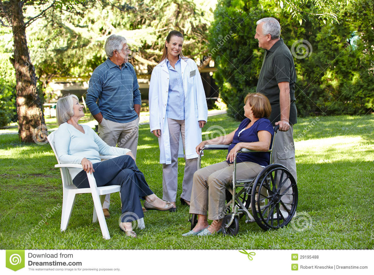 geriatric nurse with senior group royalty free stock