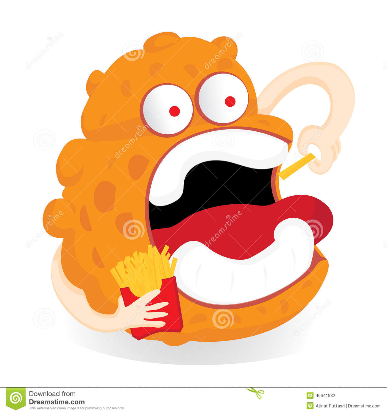 Germ Monster Cartoon Eating French Fries Stock Illustration