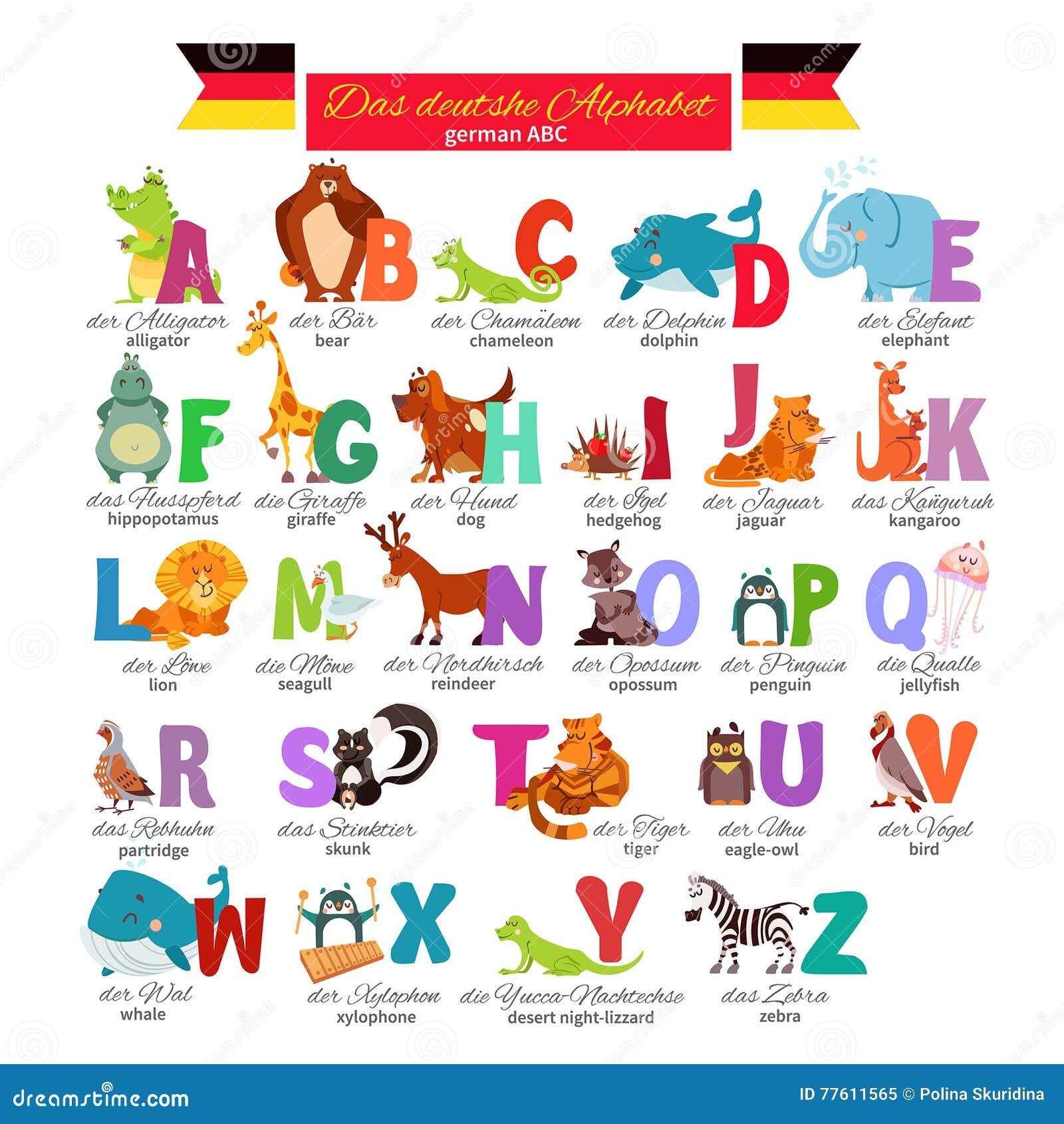 Cartoon German Alphabet With Animals Stock Vector - Image: 44125182