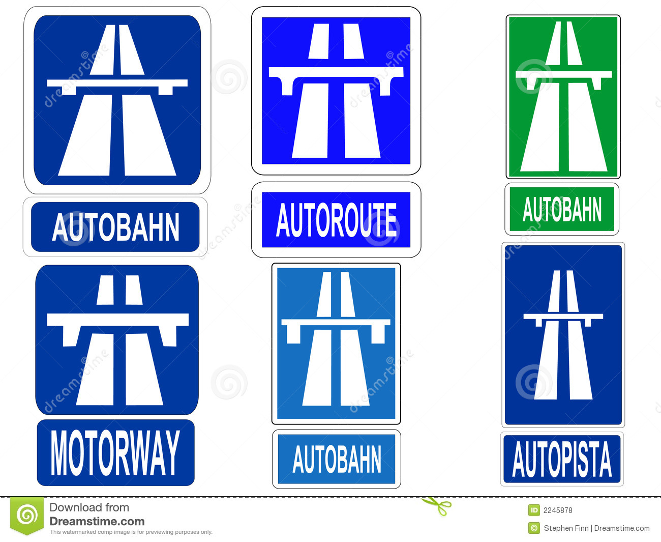 German Autobahn Sign Stock Vector. Image Of Expressway