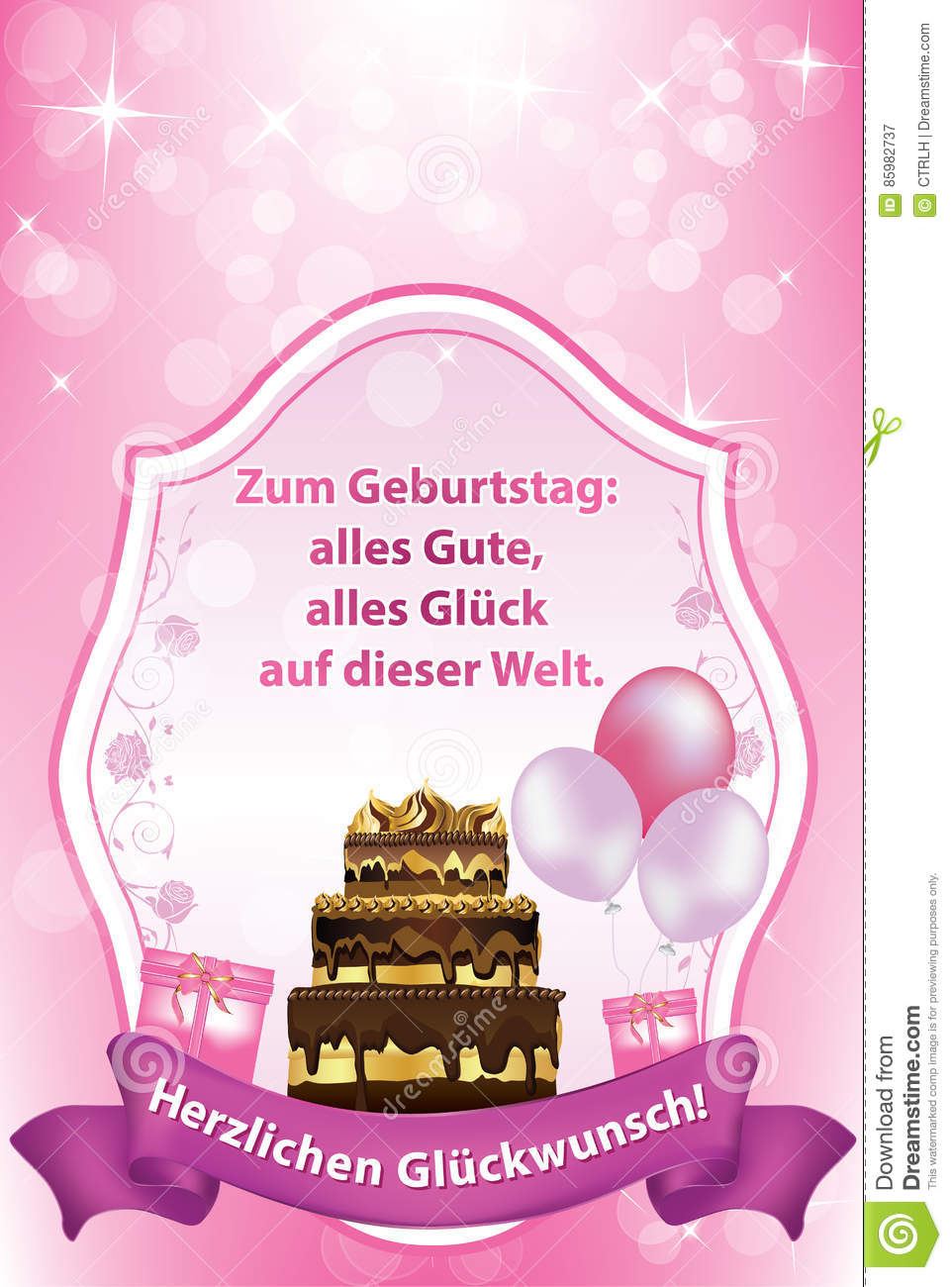 German Birthday Greeting Card Also Print Cake Balloons Especially Girls Women Happy All Happiness World 85982737