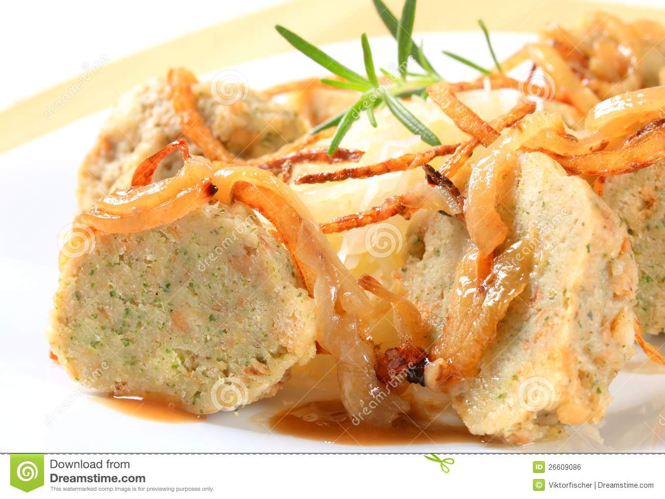 Royalty Free Stock Image: German bread dumplings with sauerkraut and ...