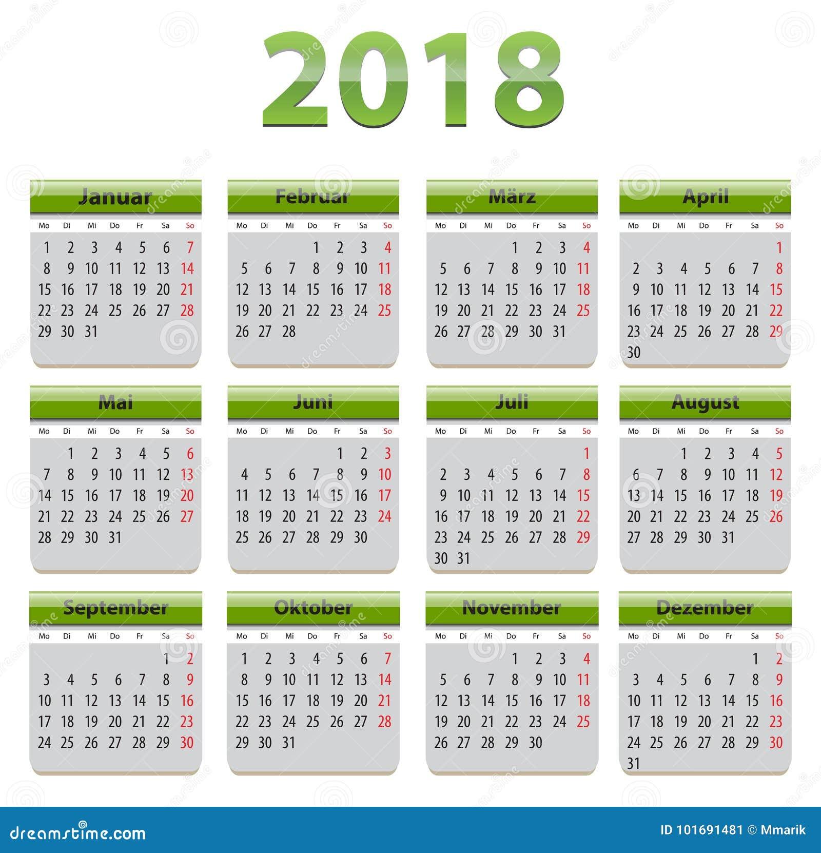 Calendar Green : German calendar stock vector image of design grey