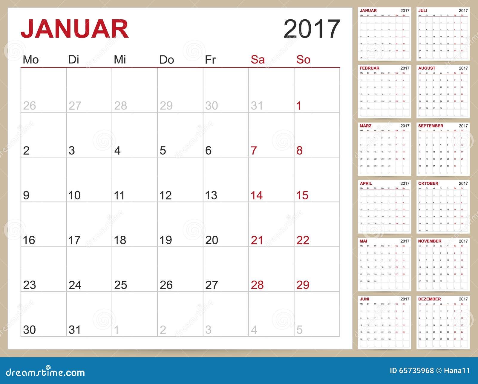 German Calendar 2017 Stock Vector Image 65735968
