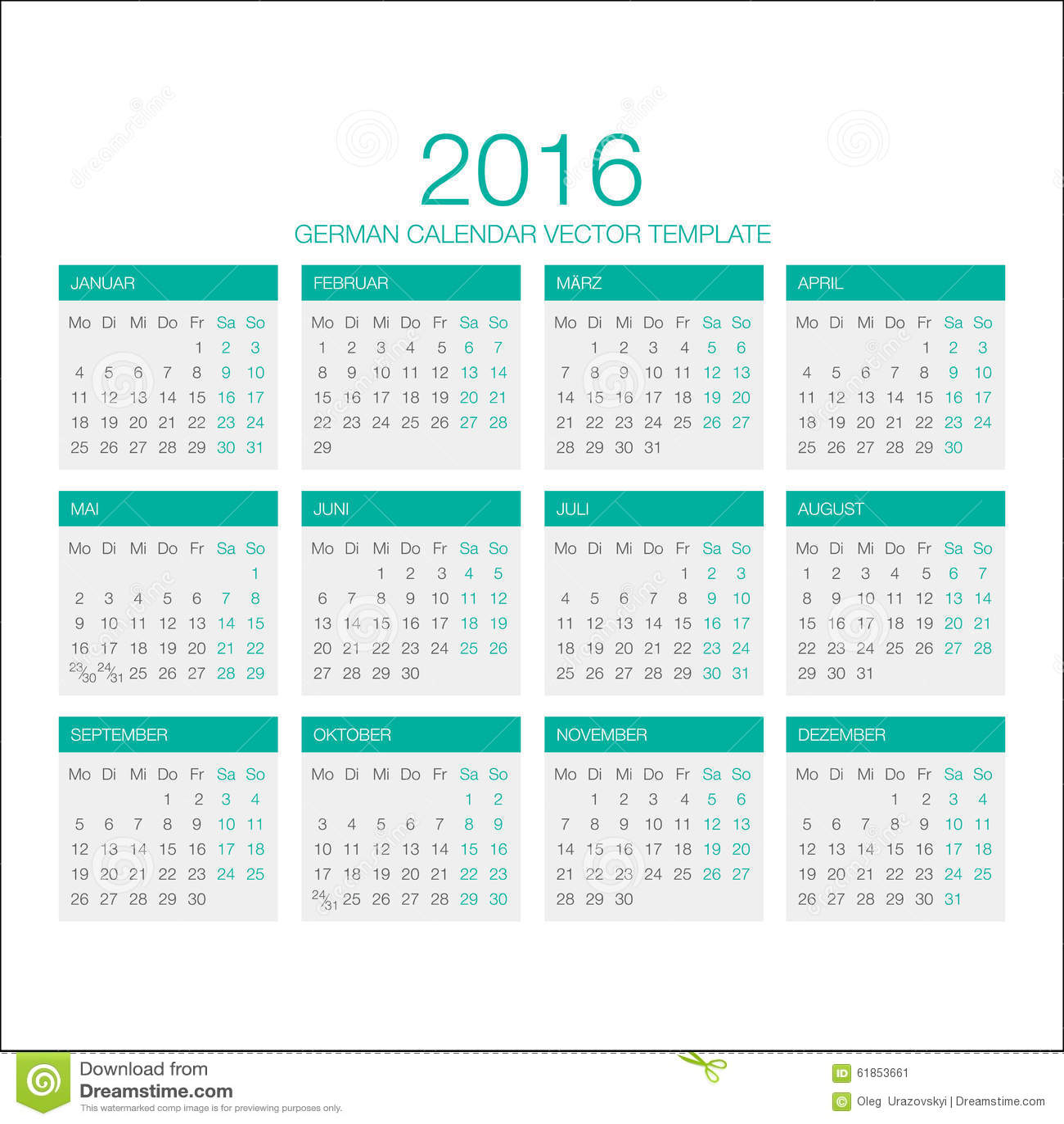 German Calendar Vector 2016 Stock Illustration - Image: 61853661