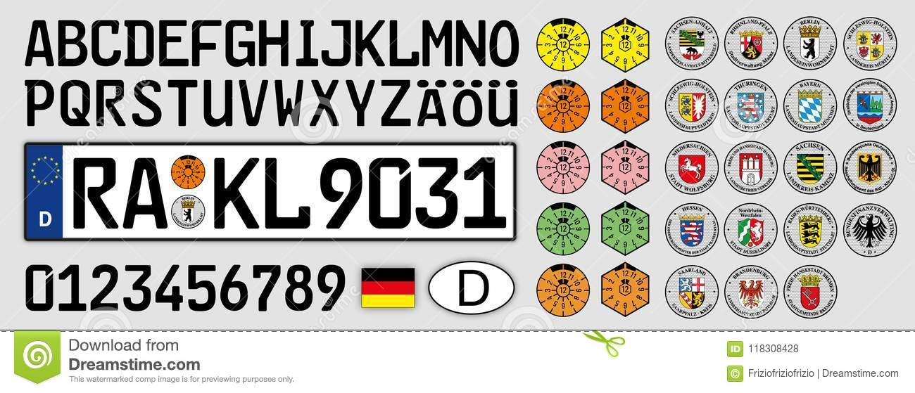 German Car Plate Letters Numbers And Symbols Germany Stock Vector