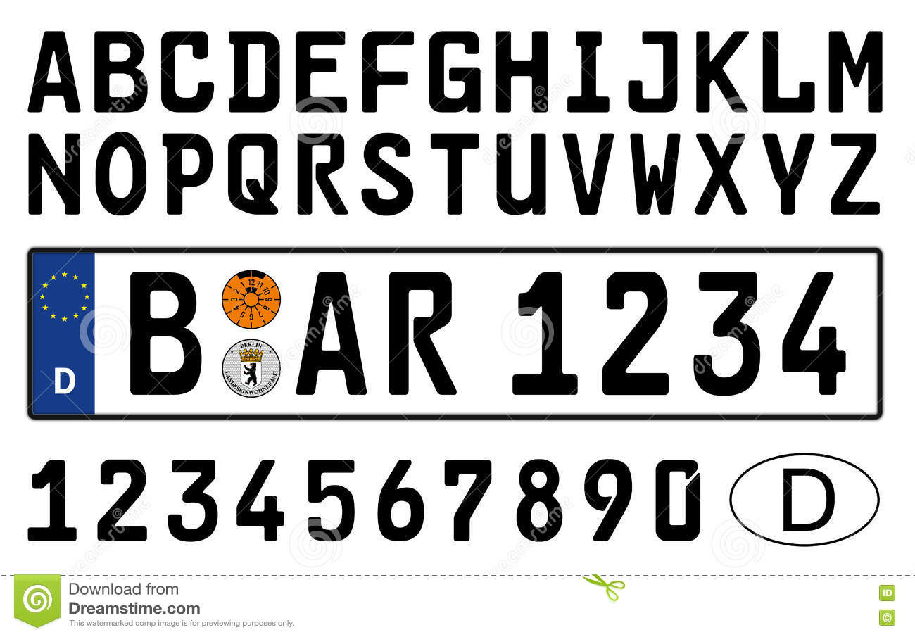 germany letters german car plate with symbols numbers and letters