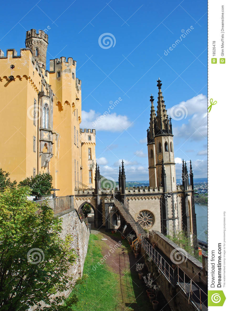 German castle Stolzenfels with Chapel , Coblence, Rhineland-Palatinate